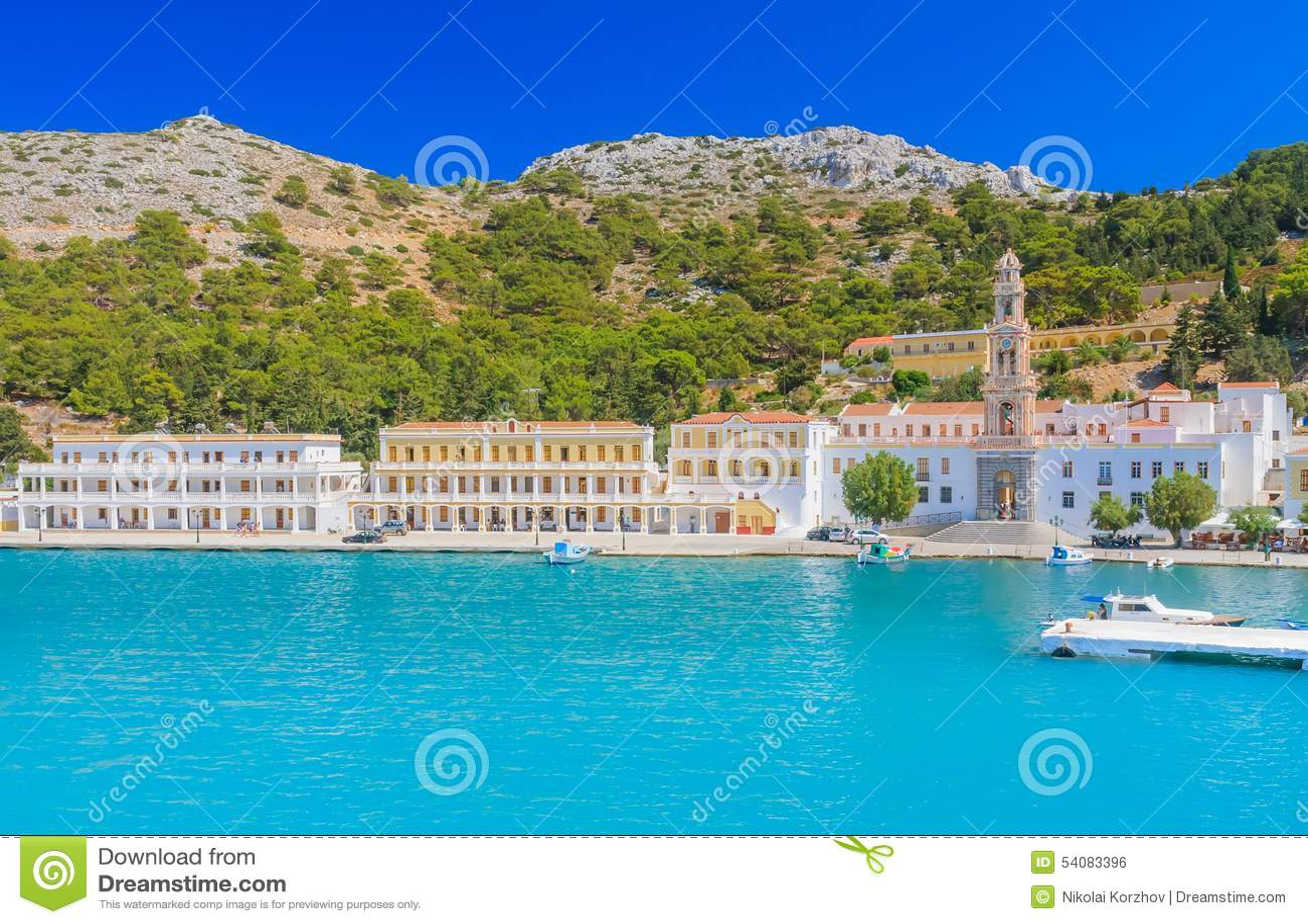 Klooster Panormitis Het eiland van Symi Griekenland