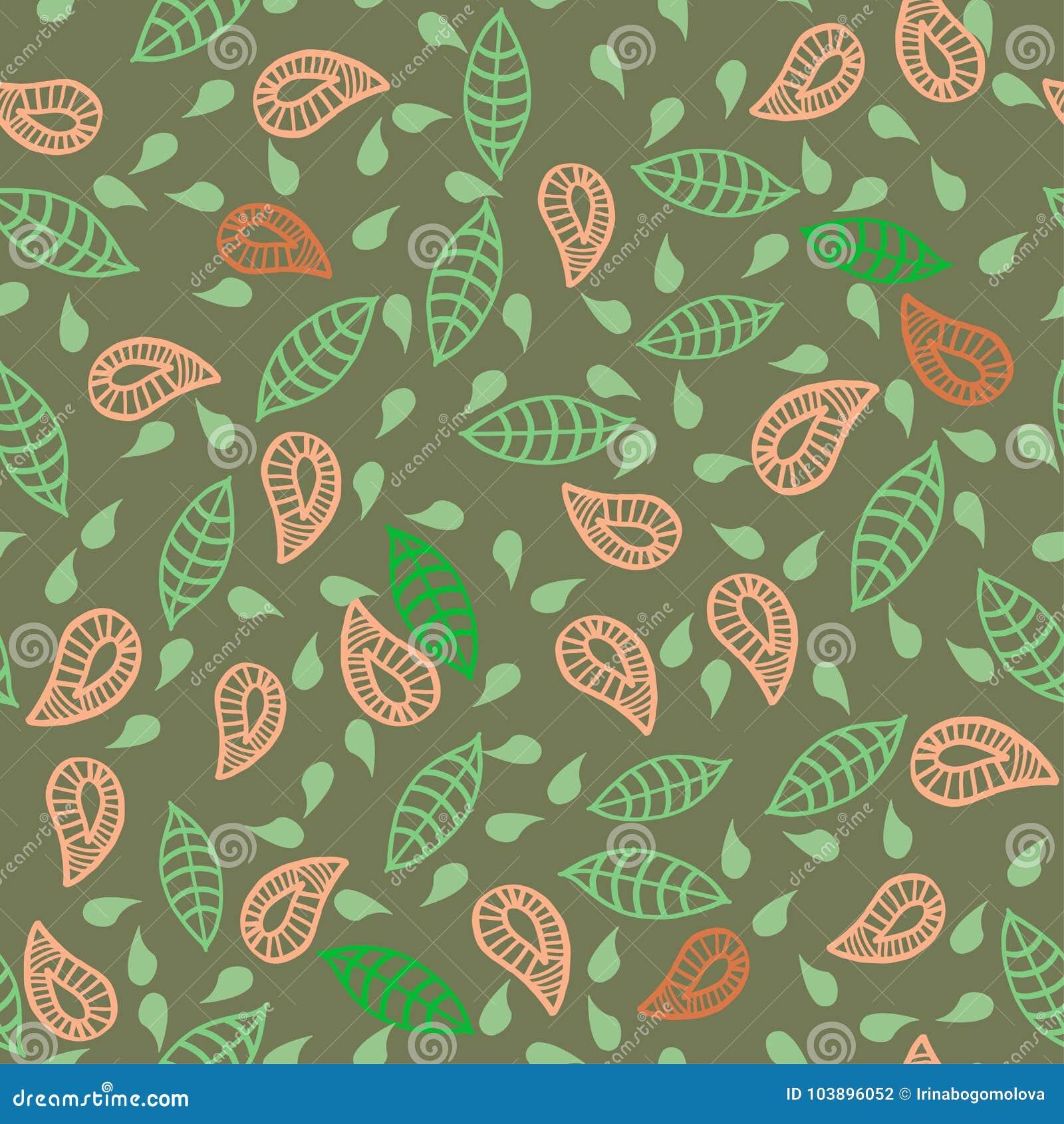 Klottra blad, plats, blommar den sömlösa gröna modellen