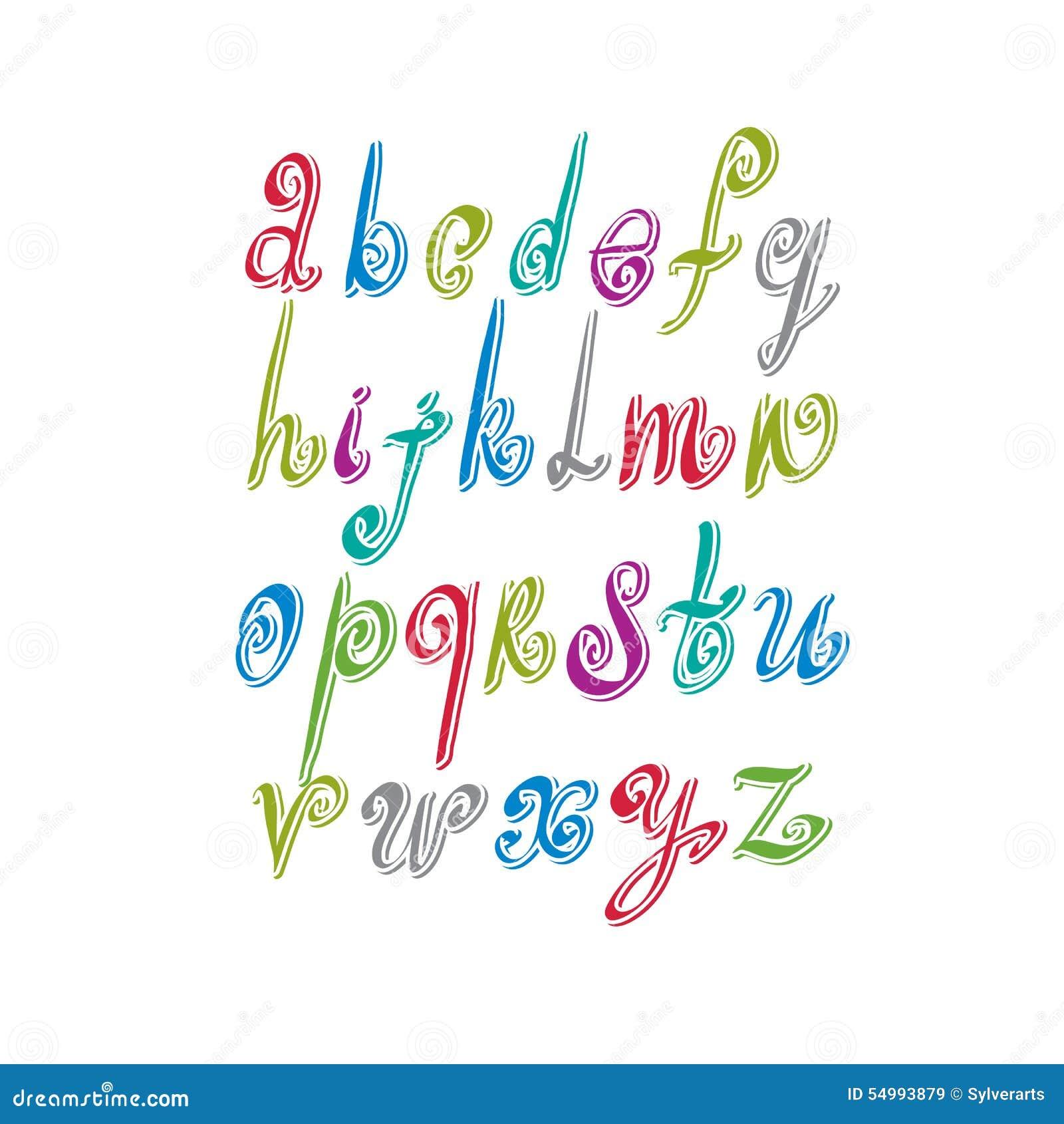 Klottra den handskrivna stilsorten, nytt borstat alfabet för vektor