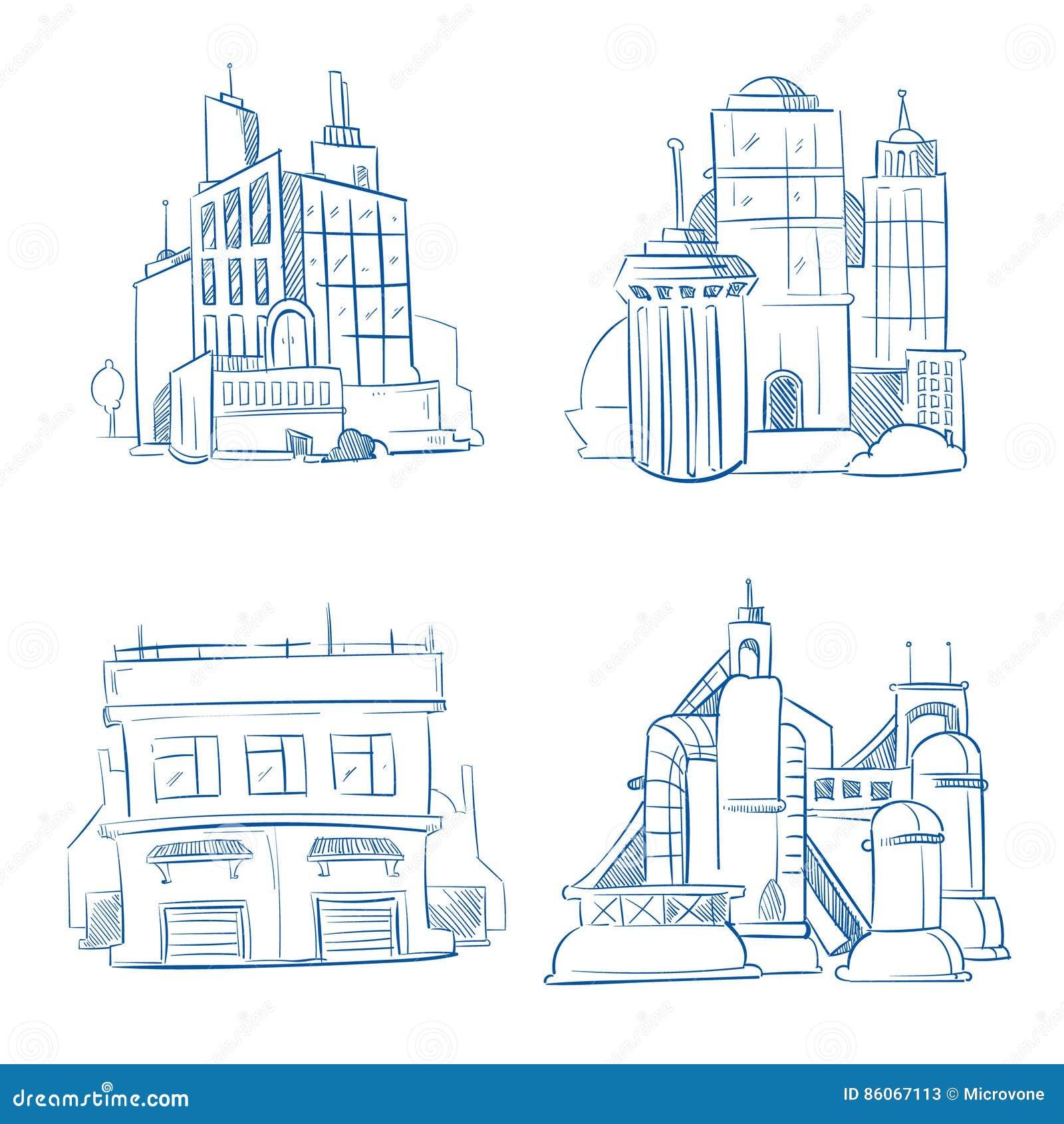 Klottra det moderna affärskontoret, branschfabriksbyggnader, lager skissar uppsättningen för handteckningsvektorn