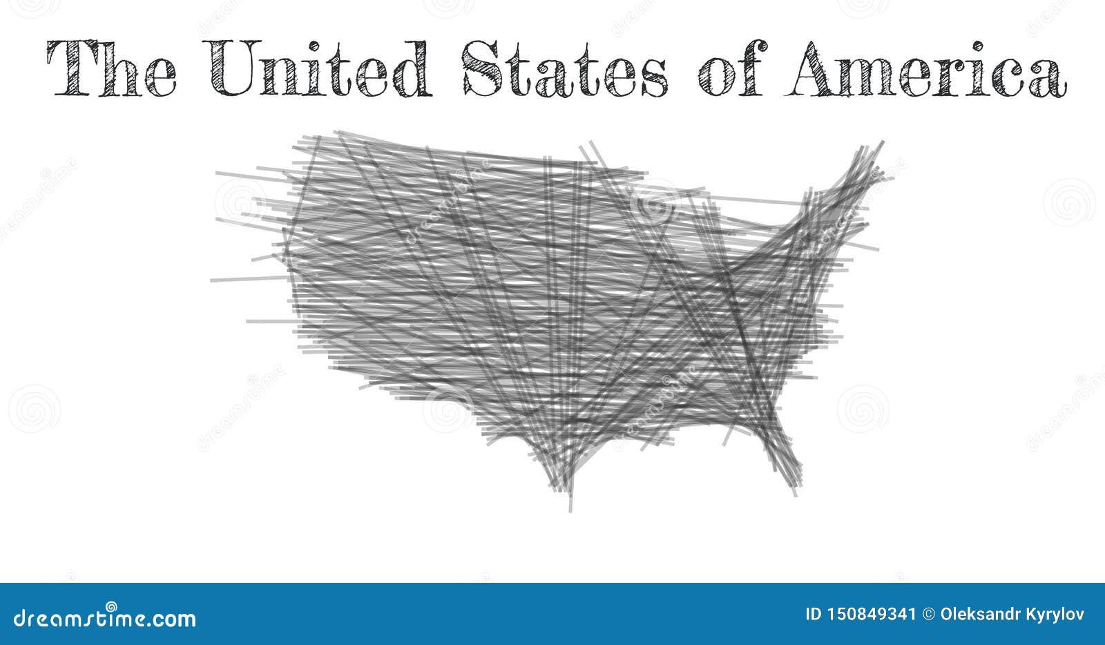 Klottra ?versikten av Amerikas f?renta stater Skissa landsöversiktssvart för infographic, broschyrer och presentationer vektor