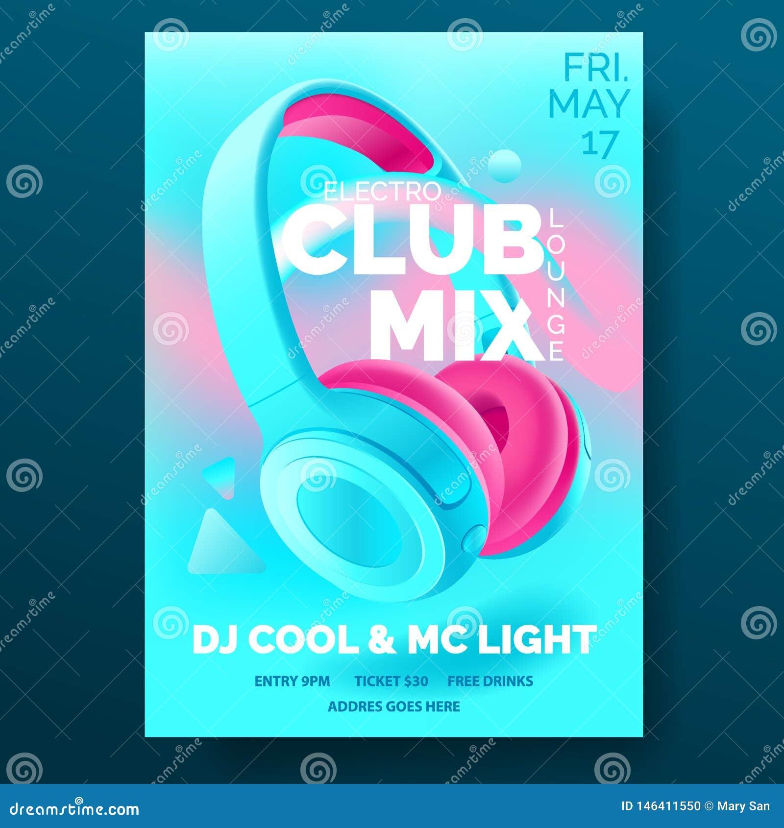Klubbaaffisch med hörlurar, dansparti, reklamblad, inbjudan, banermall, dj-musikhändelse, färgrik blått och rosa