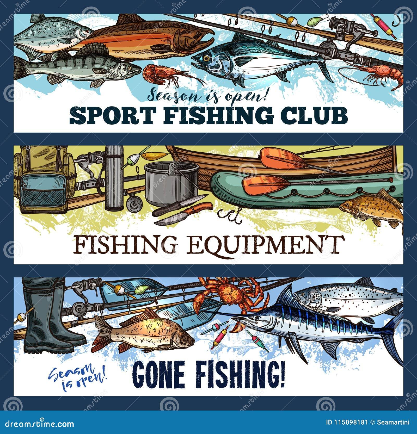 Klubban för fiske för vektorfiskaresporten skissar baner