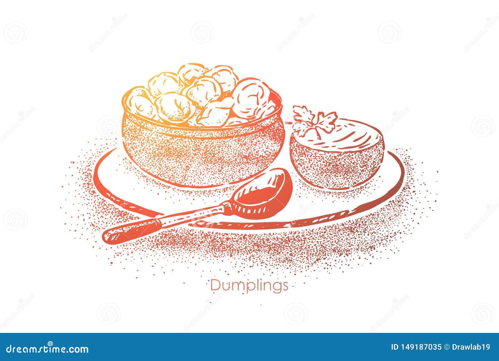 Kluchy rzucają kulą z kwaśną śmietanką, ciasto z mięsnym plombowaniem, krajowa kuchnia, domowej roboty lunch, śniadanie
