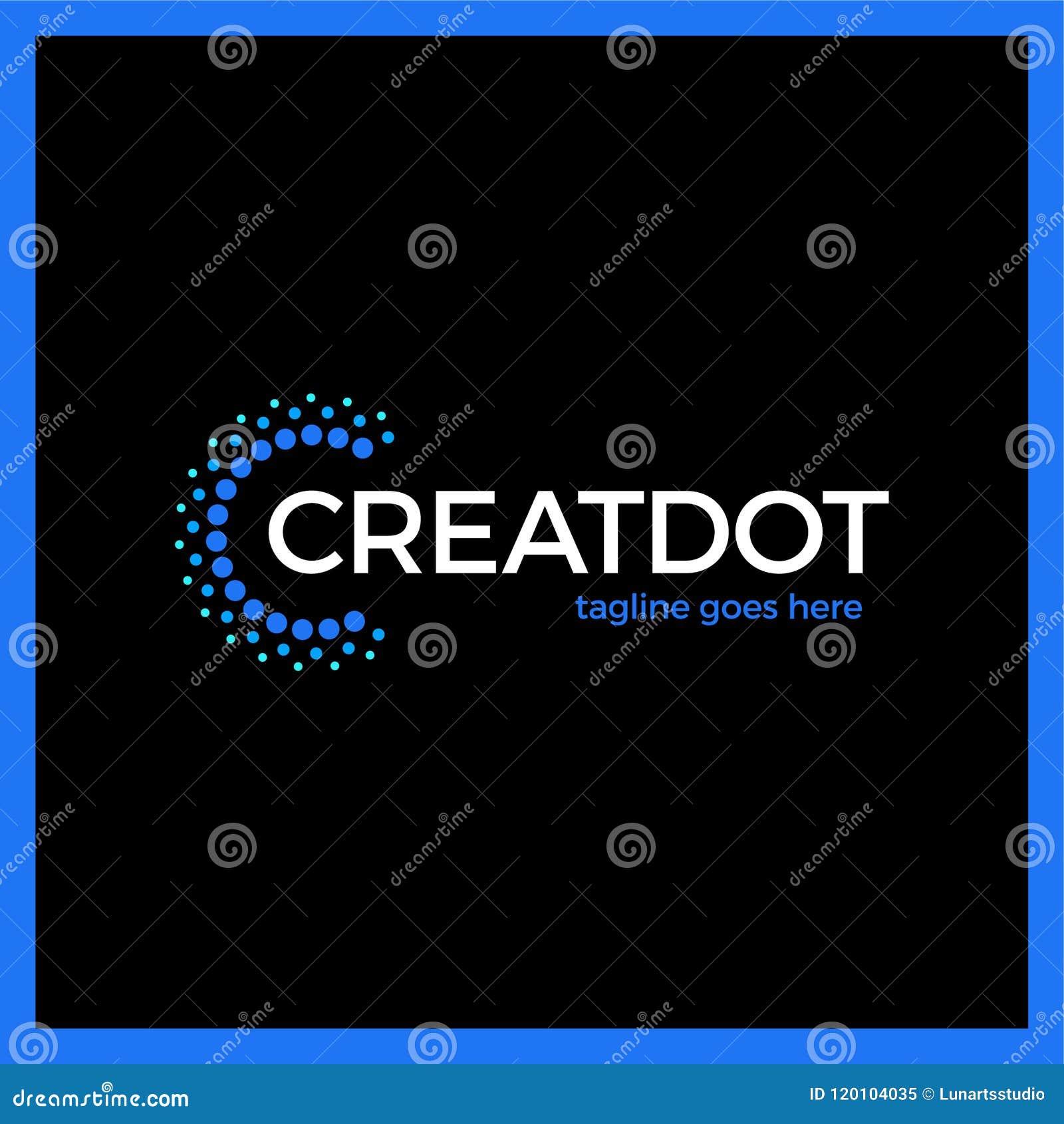 Klug und kreativ, Punkte oder Punktbuchstabe C Smart und Ideenfirmenzeichen