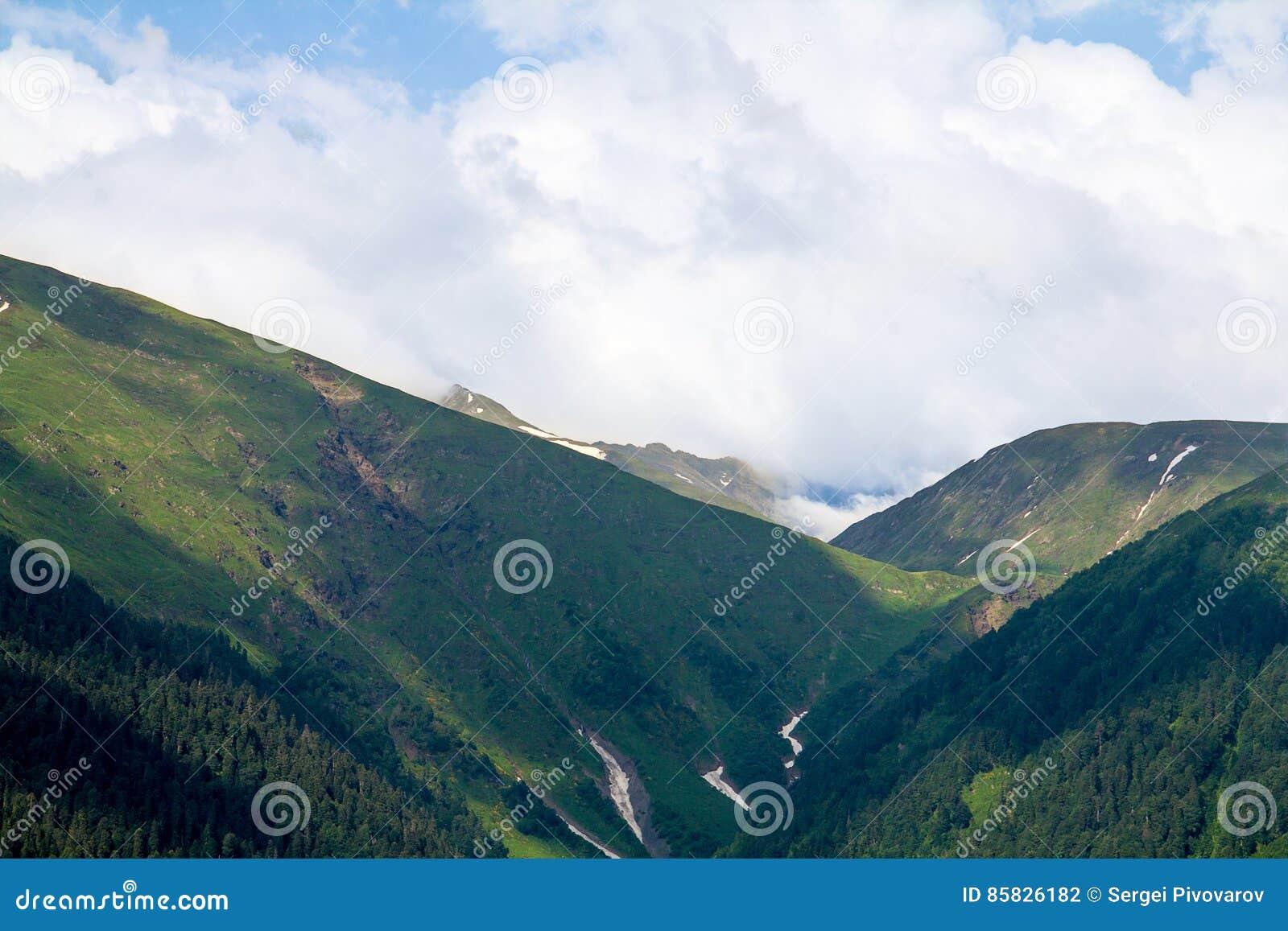 Klyftan i bergen som är forested med skrevan och snö, tystar och seglar utmed kusten