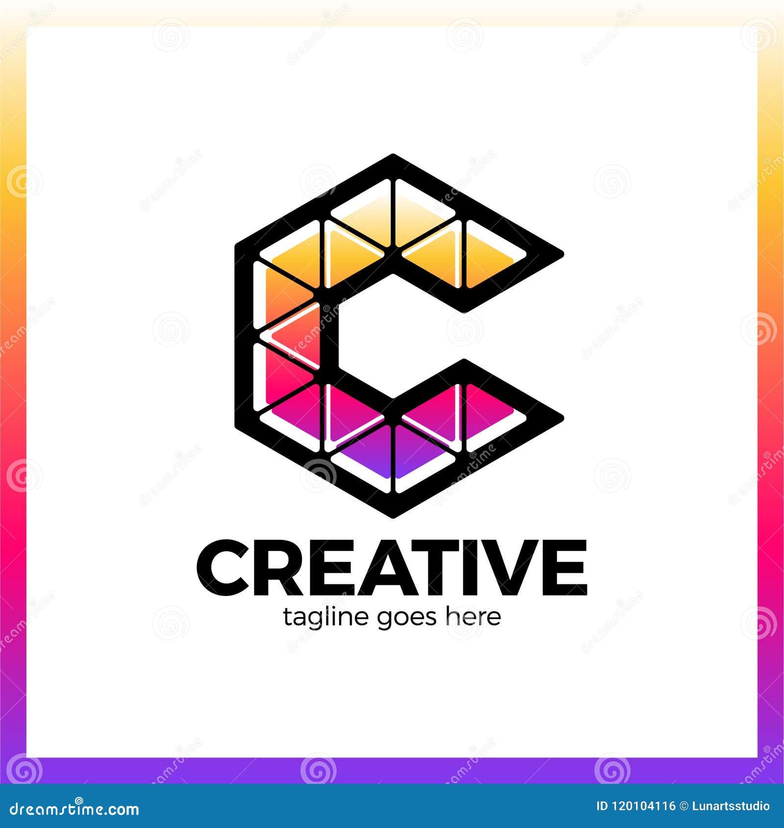 Klyftigt idérikt, triangel som är färgrik, bokstav C Smart och idé l