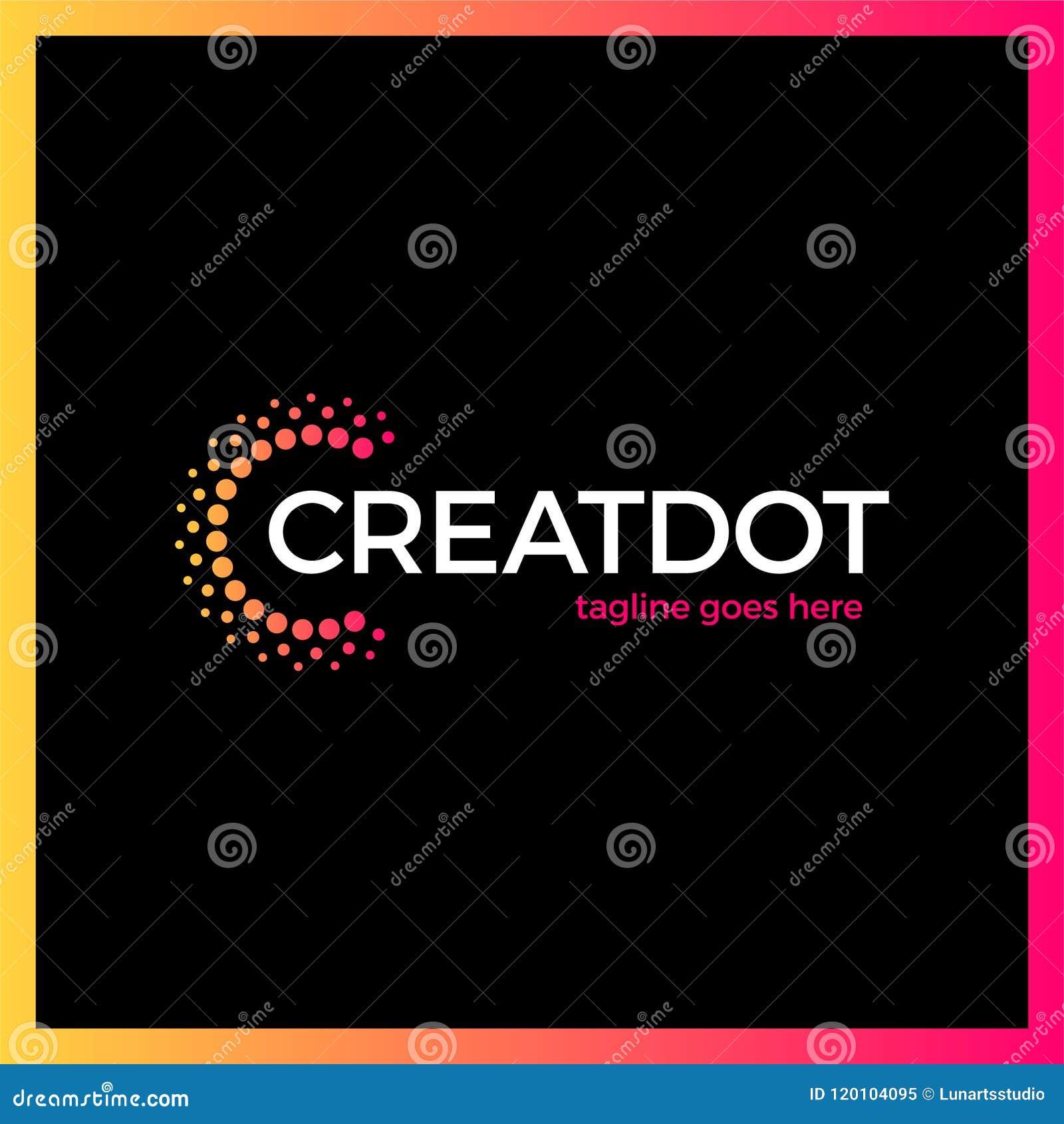 Klyftigt och idérikt, prickar eller punktbokstav C Smart och idélogotyp