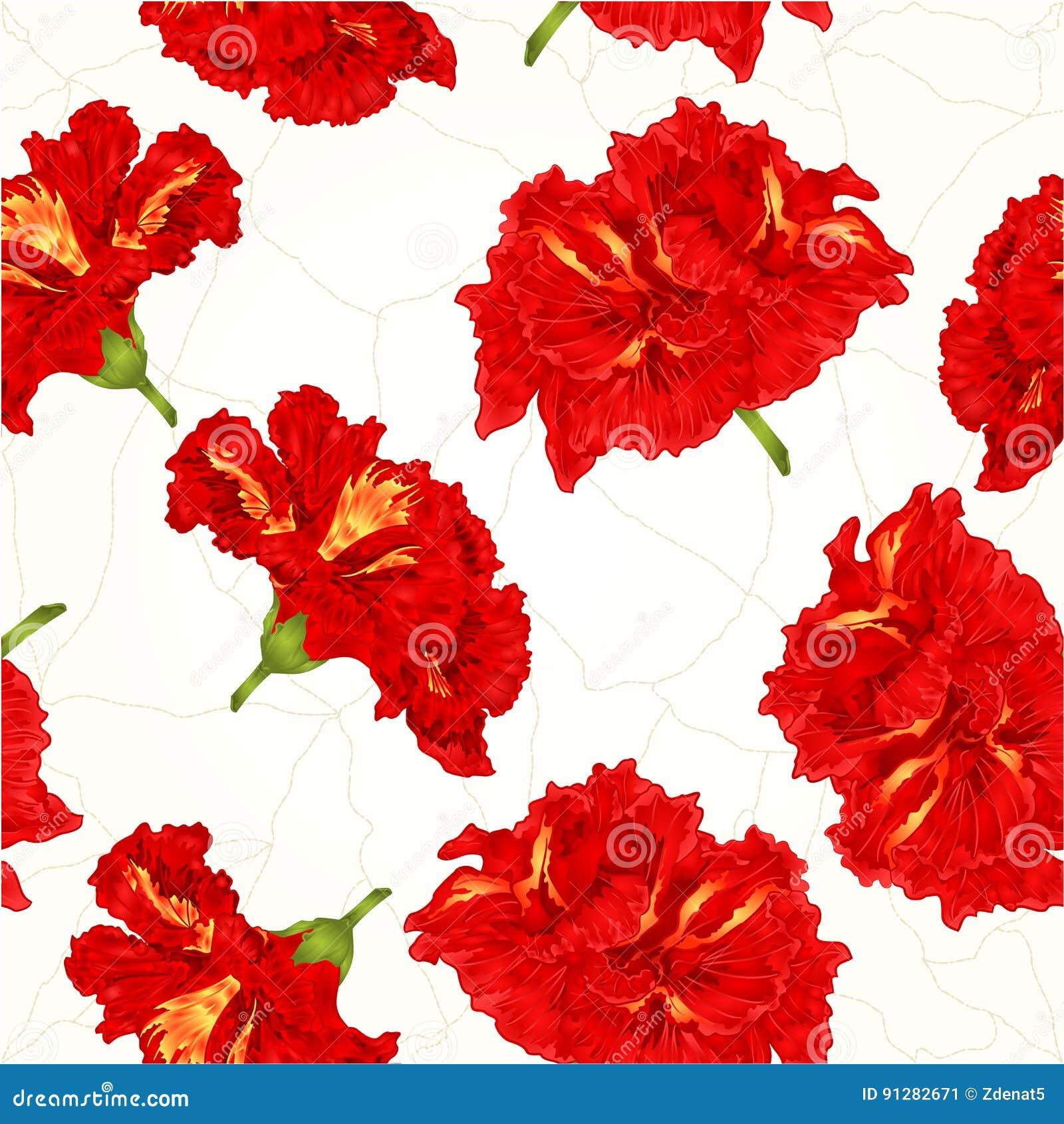 Knäcker tropiska blommor för sömlös hibiskus för textur röd tappningvektorn