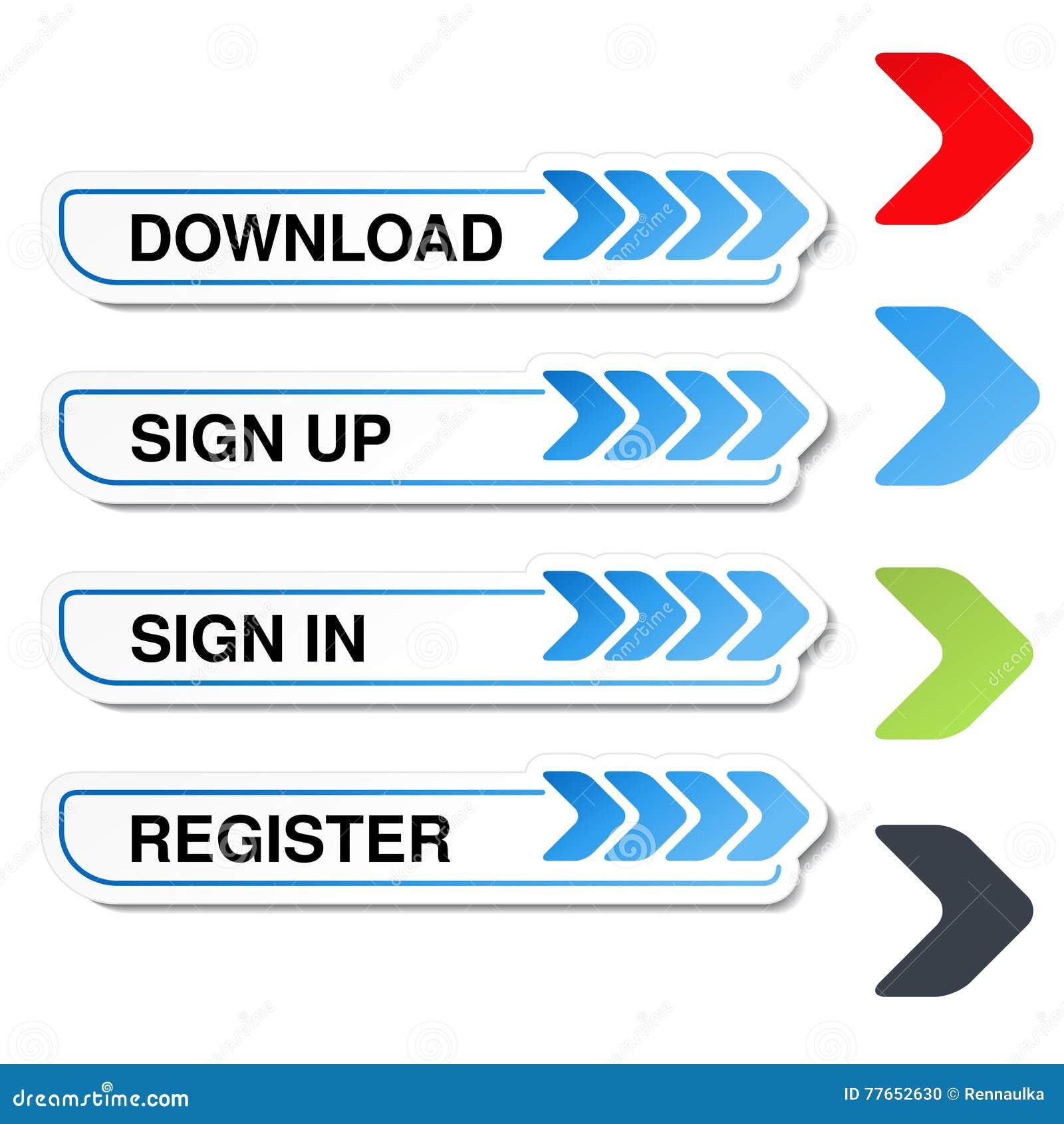 Knöpfe für Website oder APP Knopf - melden Sie sich, unterzeichnen herein, registrieren, herunterladen, laden an