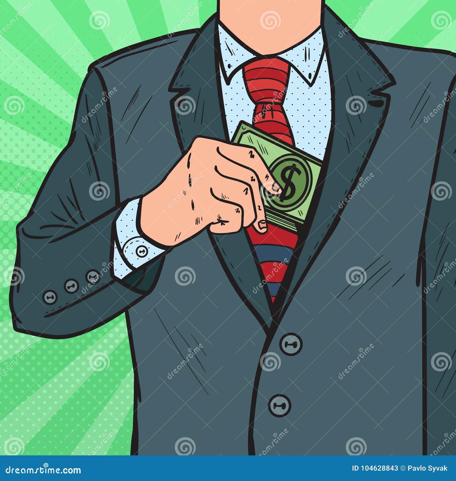 Knall Art Businessman Putting Money in der Anzugs-Jacken-Tasche Korruptions- und Bestechungskonzept