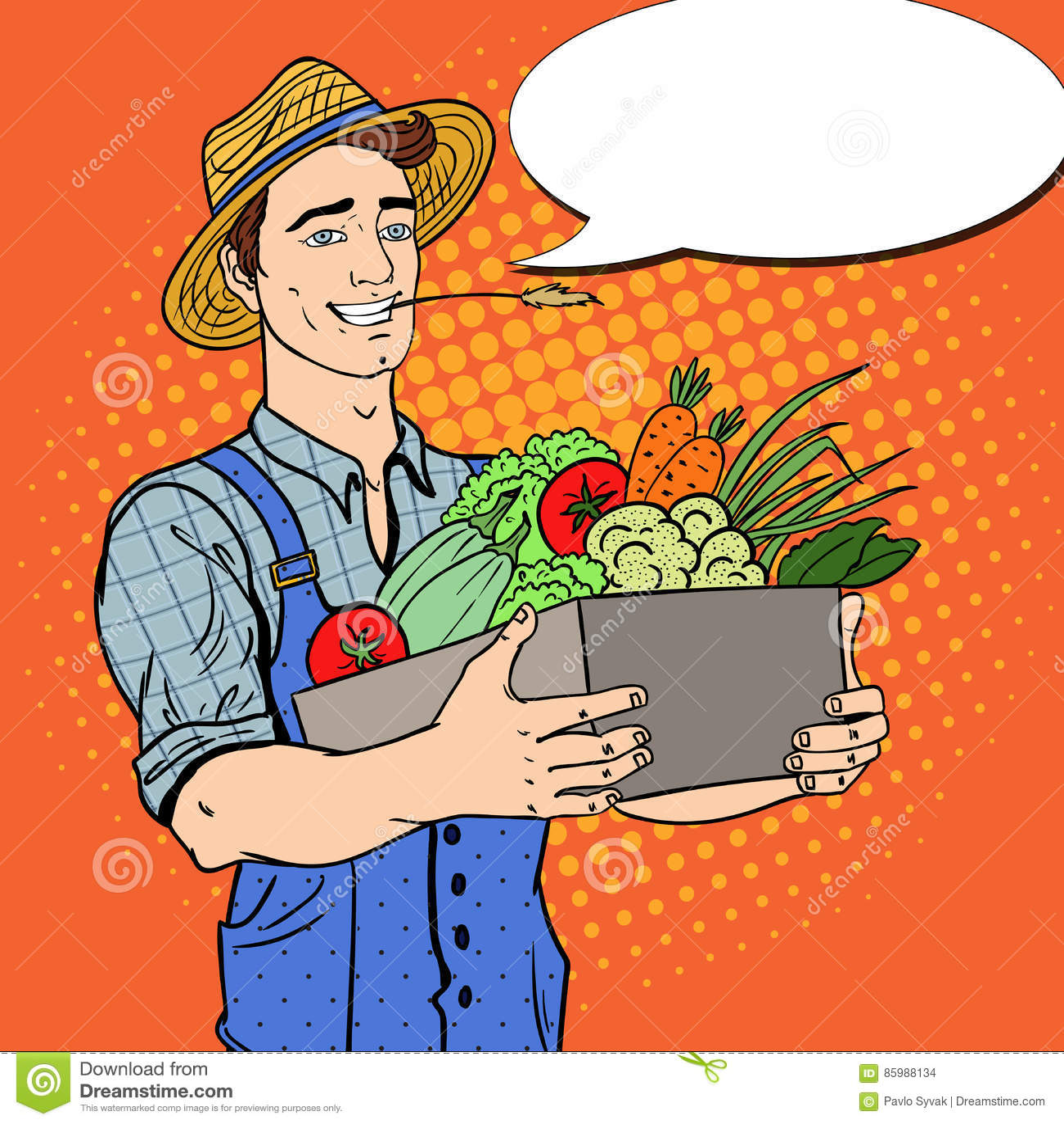Knall Art Happy Farmer Holding Basket mit Frischgemüse