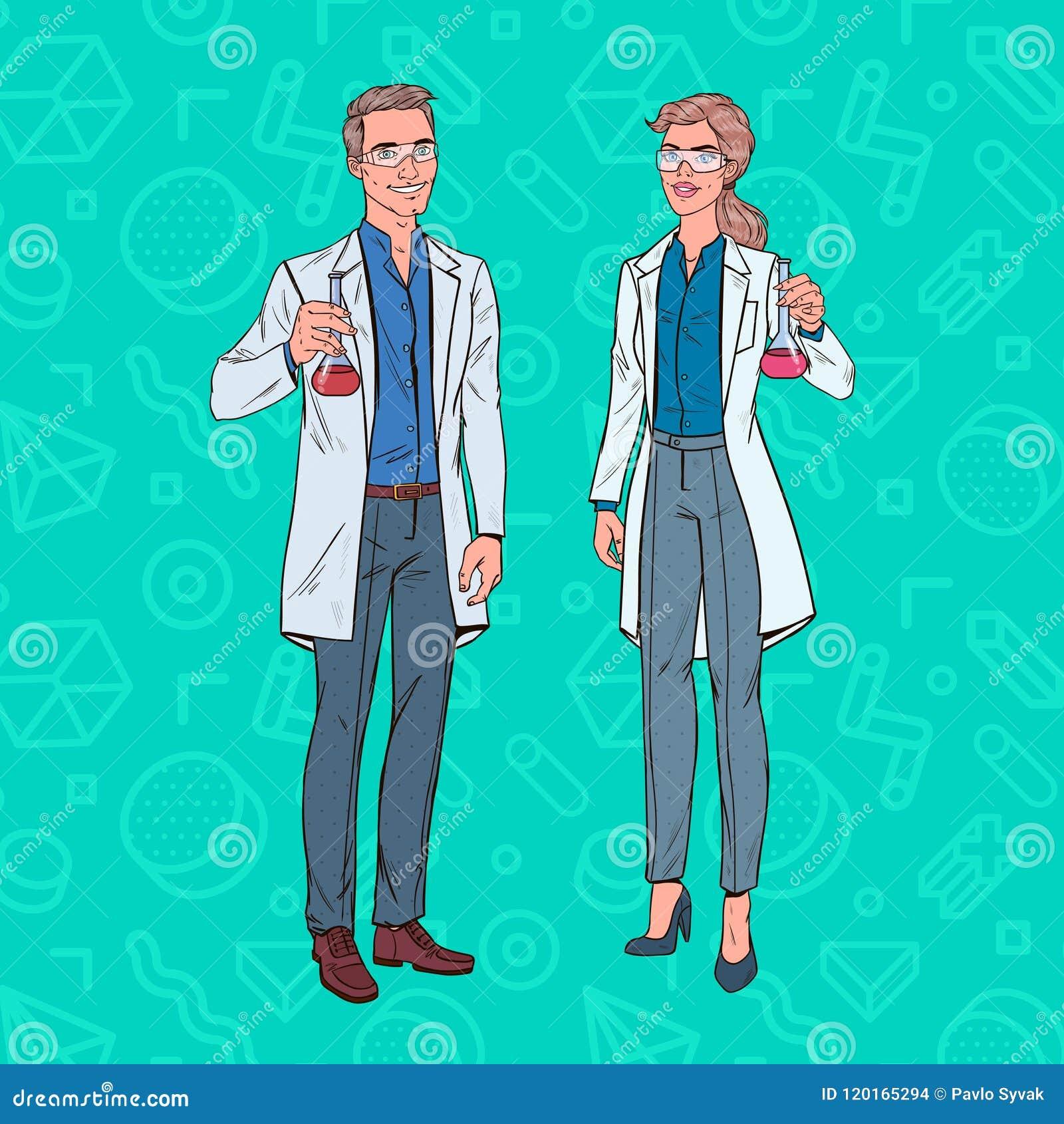 Knall Art Man und Frauen-Wissenschaftler mit Flasche Laborforscher Chemie-Pharmakologie-Konzept