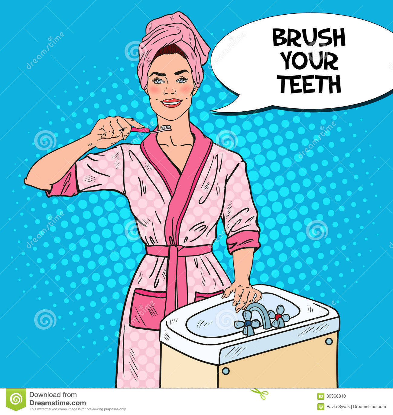 knall-art smiling young woman brushing-zähne im badezimmer, Badezimmer ideen