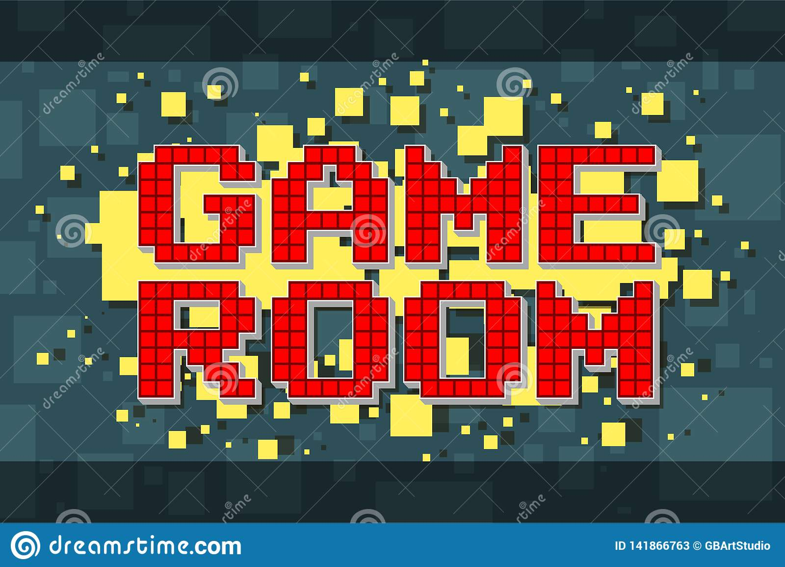Knapp för modigt rum för rött PIXEL retro för videospel