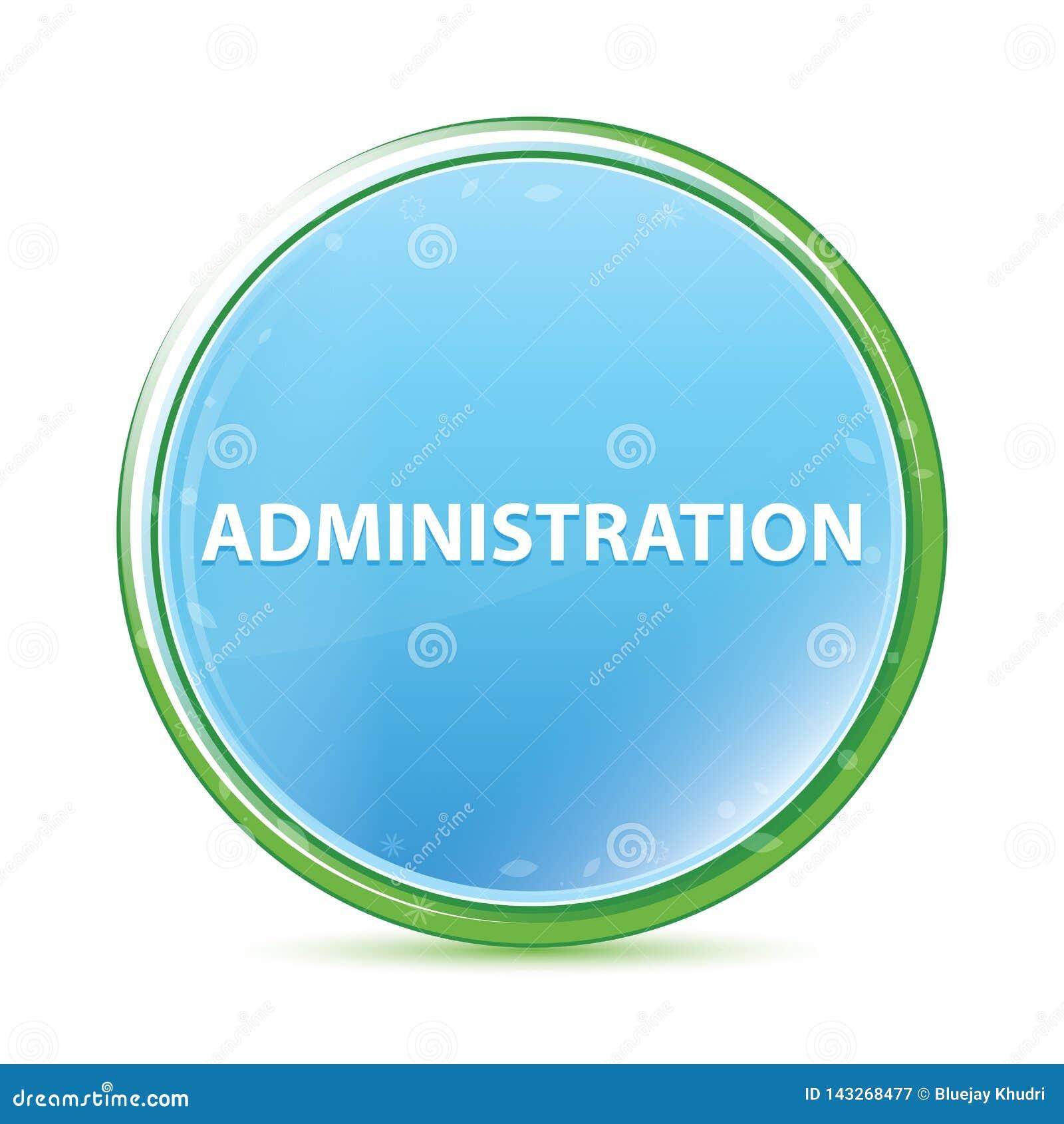 Knapp för naturlig aqua för administration cyan blå rund