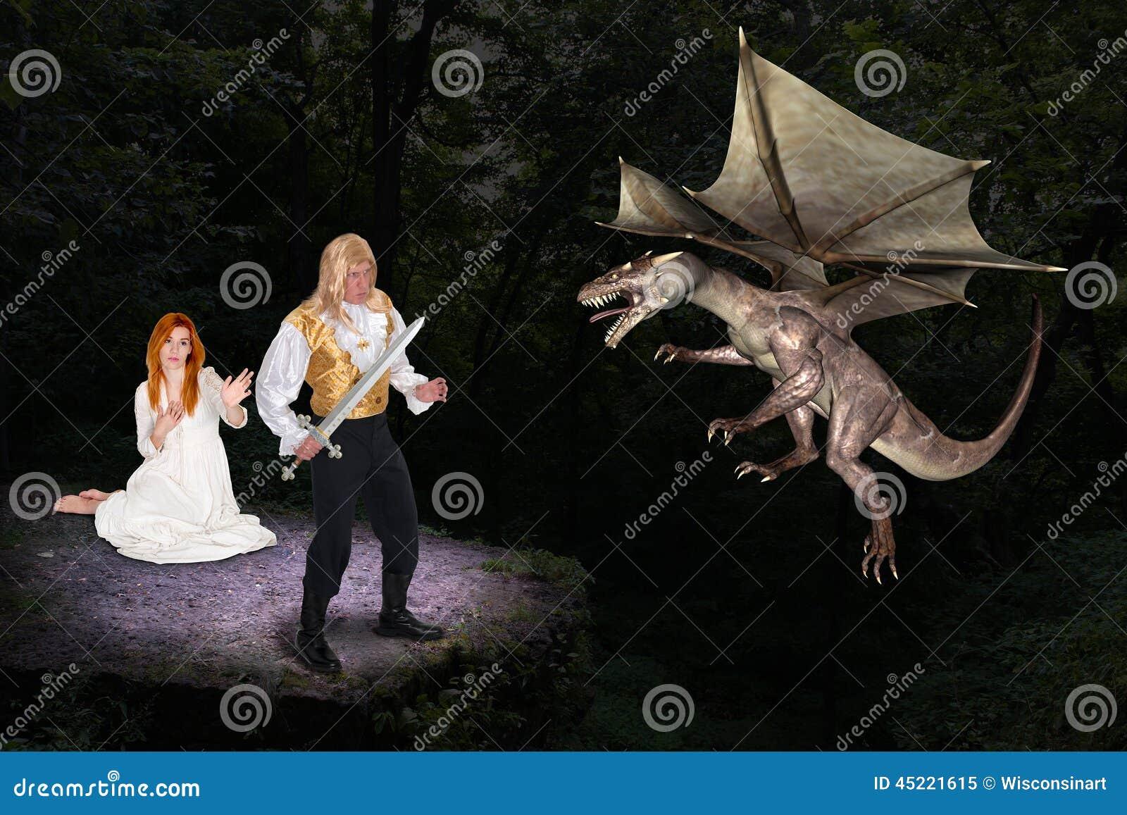 Knappe Prins Save Fair Maiden van Kwade Draak