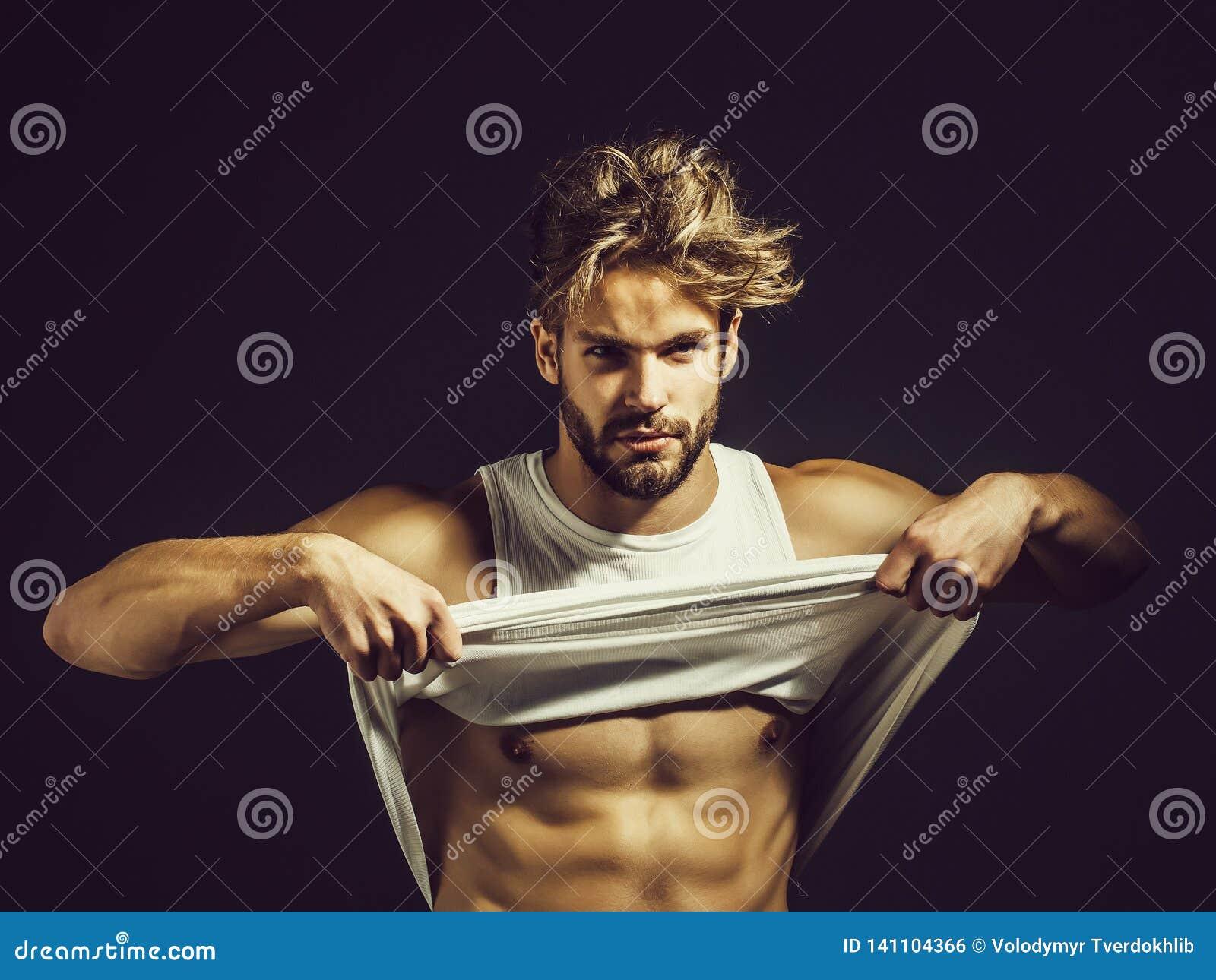 Knielt De Sexy Naakte Jonge Mens Van De Spier Stock