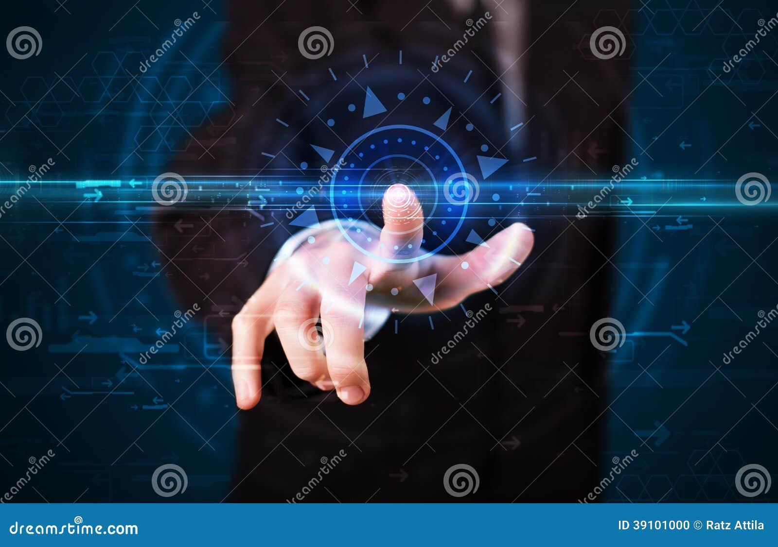 Knappe technologie-kerel dringende geavanceerd technisch