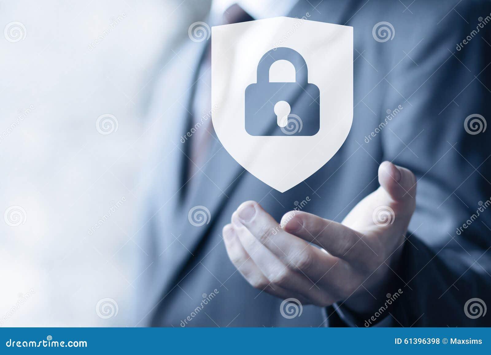 Knappen låste affär för symbol för sköldsäkerhetsvirus direktanslutet