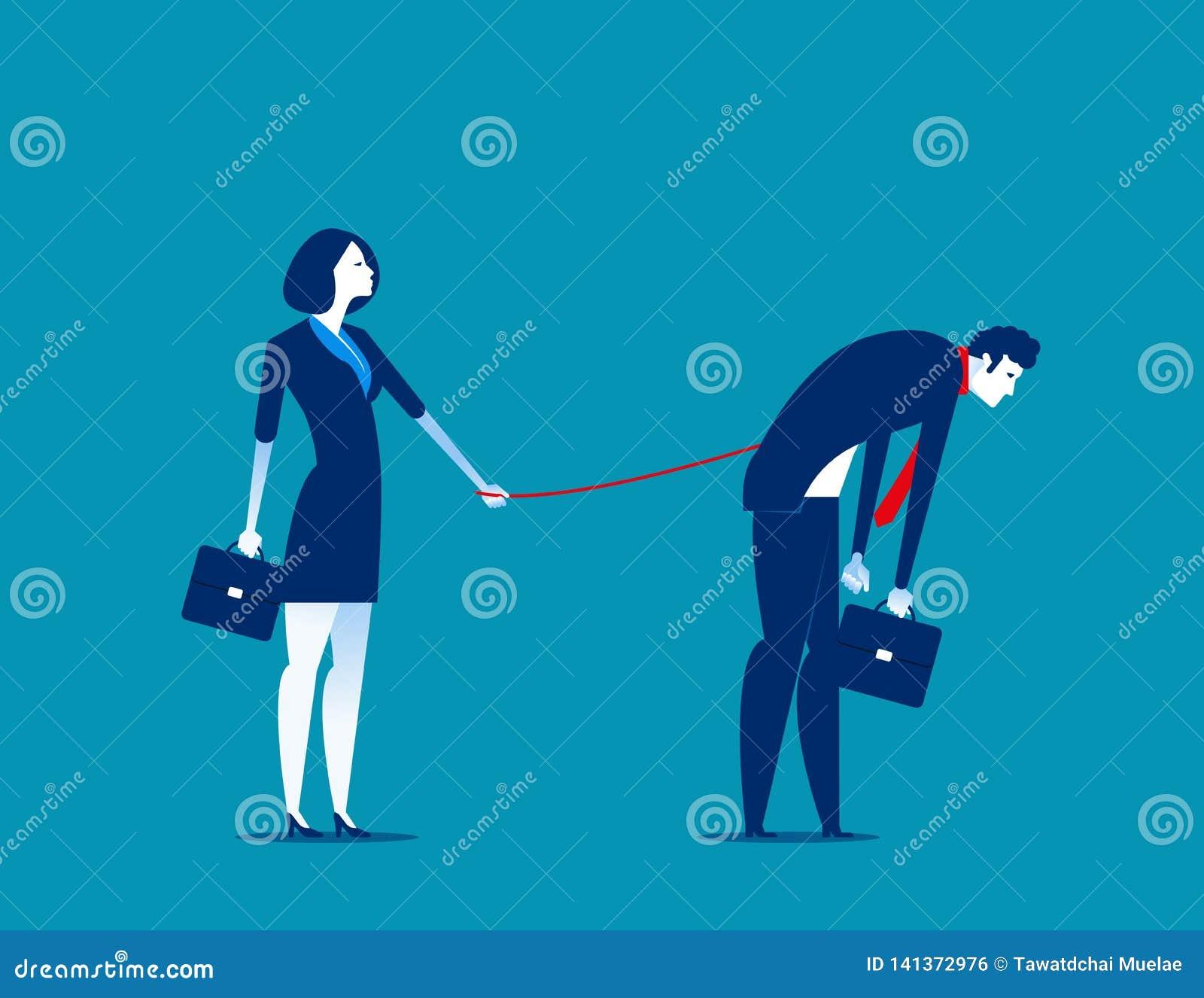 Knechtschaft Manager, der seine Untergebenen steuert Konzeptgeschäfts-Vektorillustration
