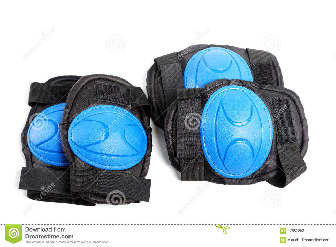 Knee pads and elbow pads isolated on white