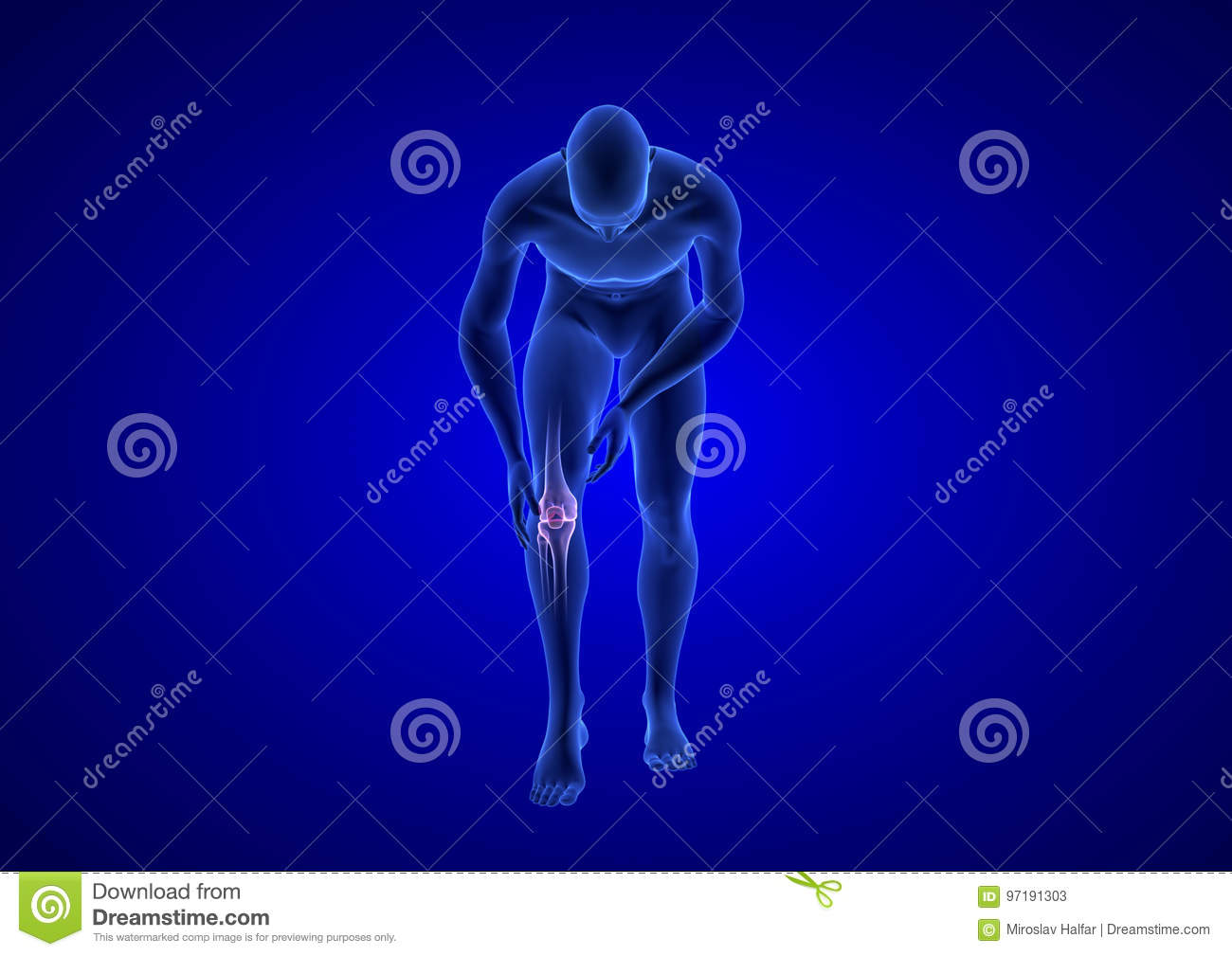 Knee Pain. Blue Human Anatomy Body 3D Render On Blue Background ...