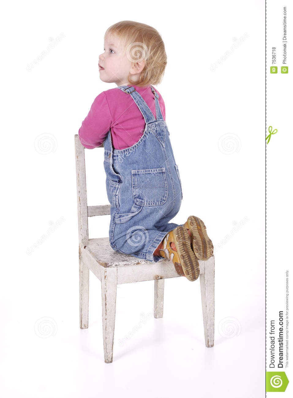 Kneeling On The Chair Young Girl Stock Photo Image Of