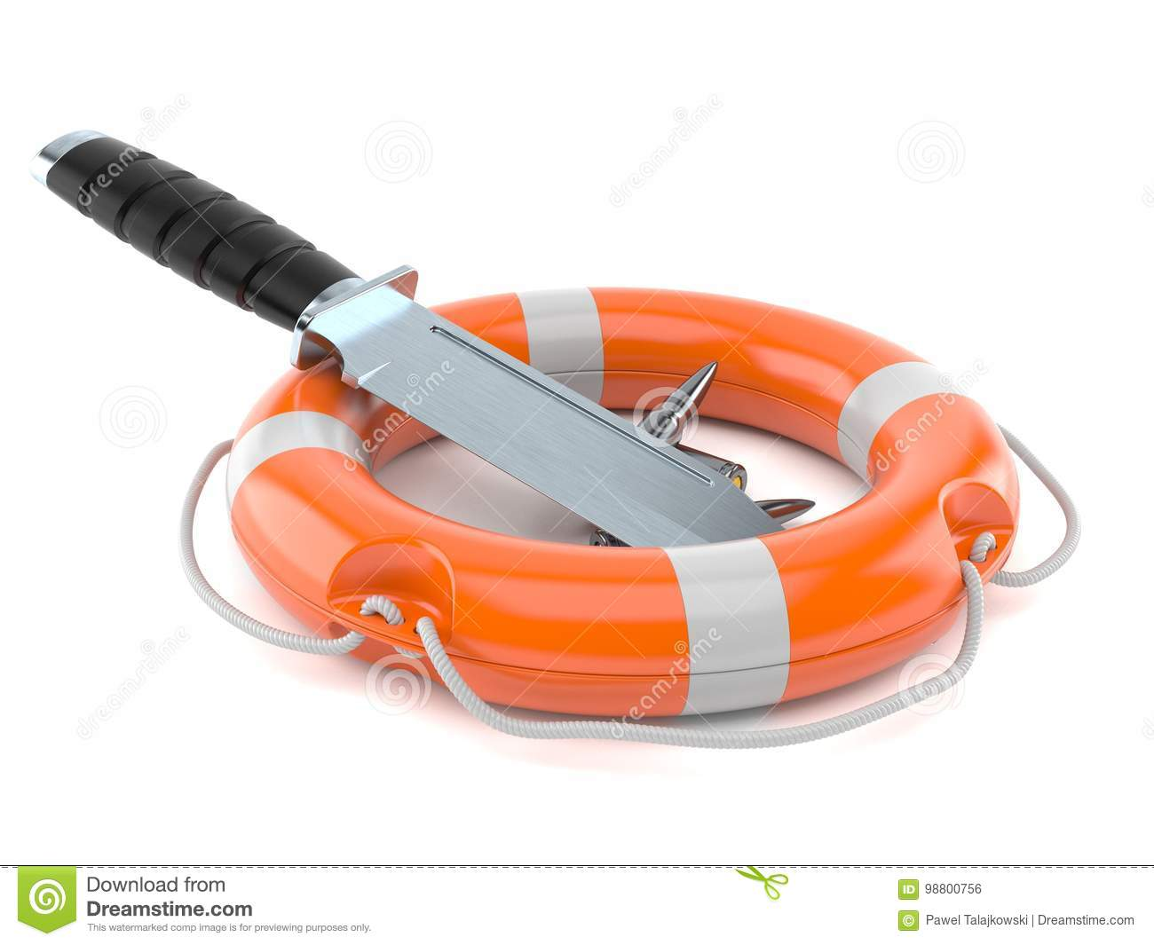 Knife with ammunition and life buoy