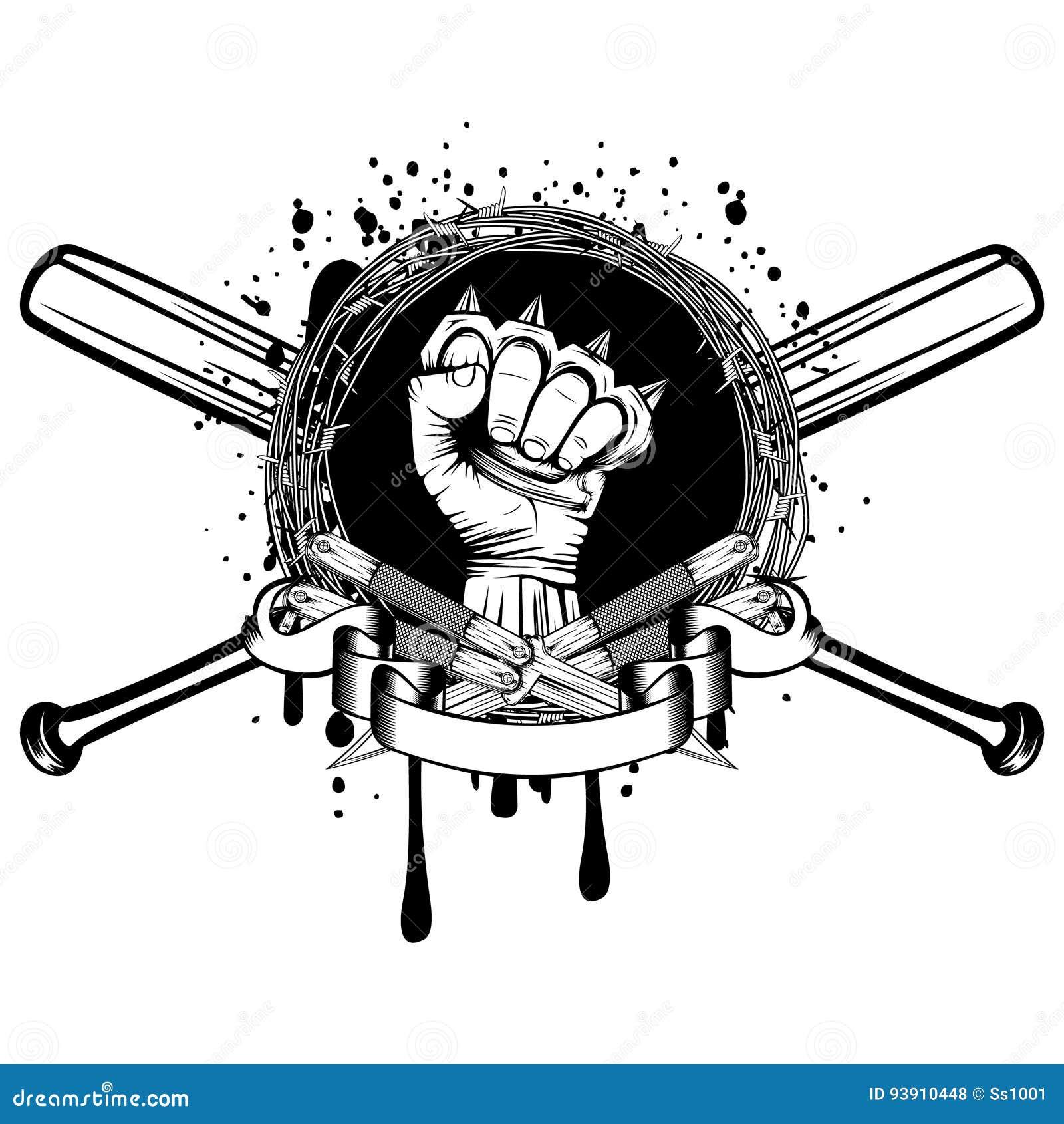 Knife bat knuckle_2 stock vector. Illustration of knuckleduster ...