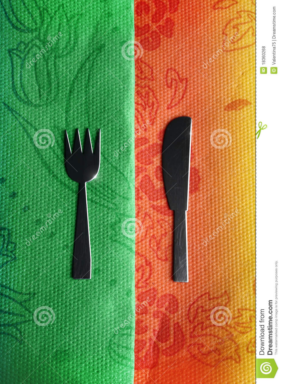Knife And Fork On Green And Red Stock Photo Image Of