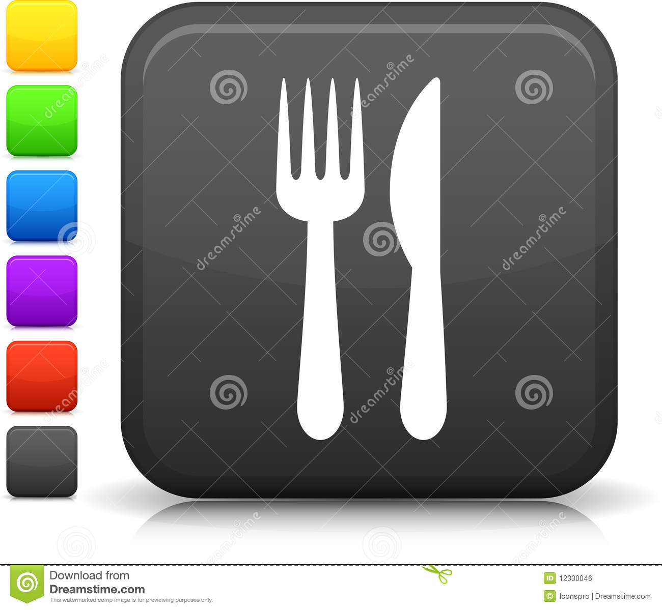 Royalty free stock image knife and fork icon on square internet