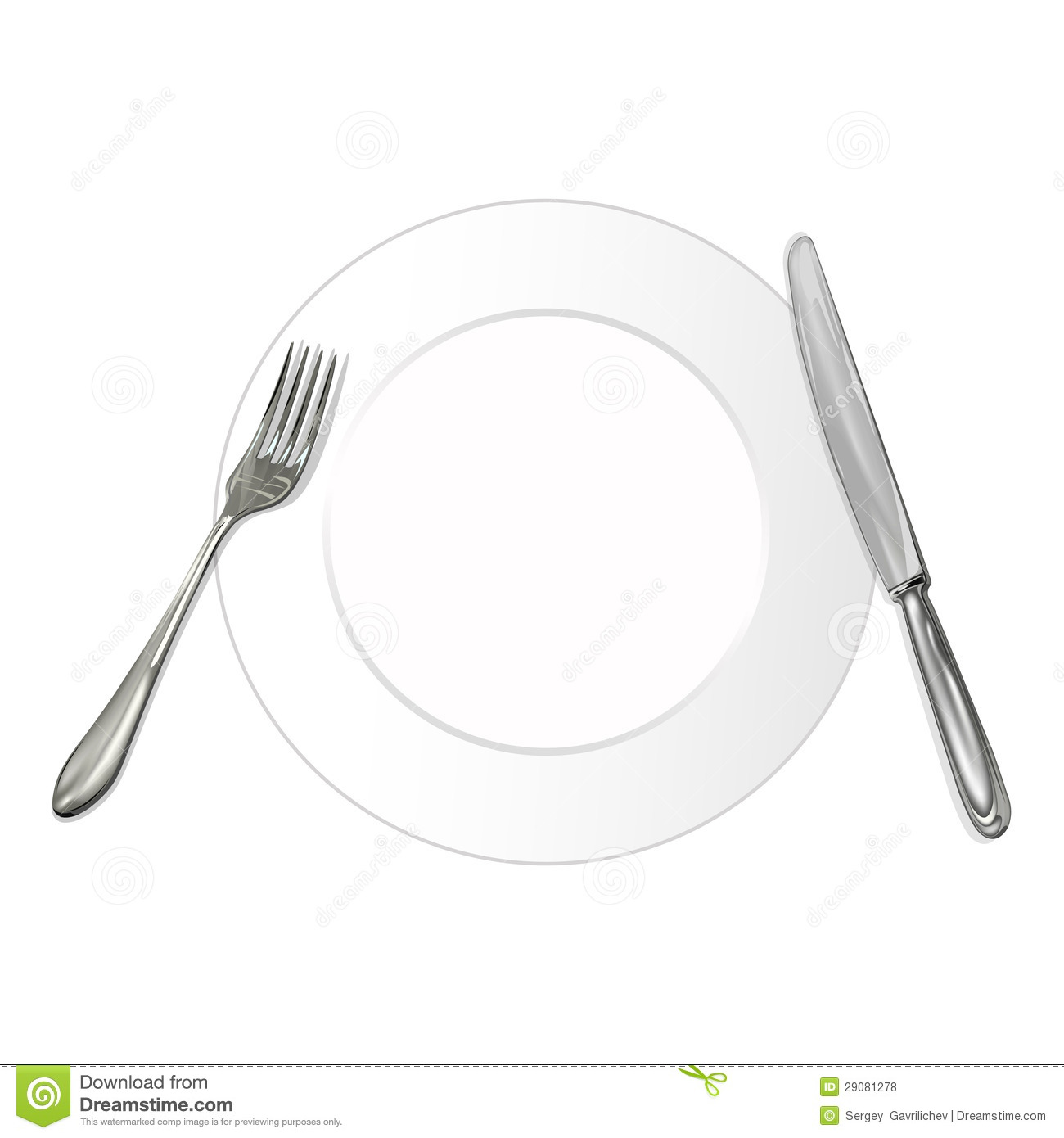 Knife fork and plate stock illustration of
