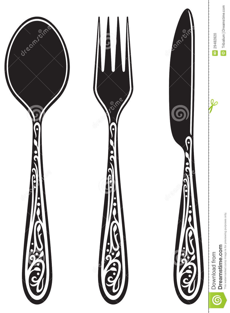 Knife Fork And Spoon With Ornaments Stock Vector Image