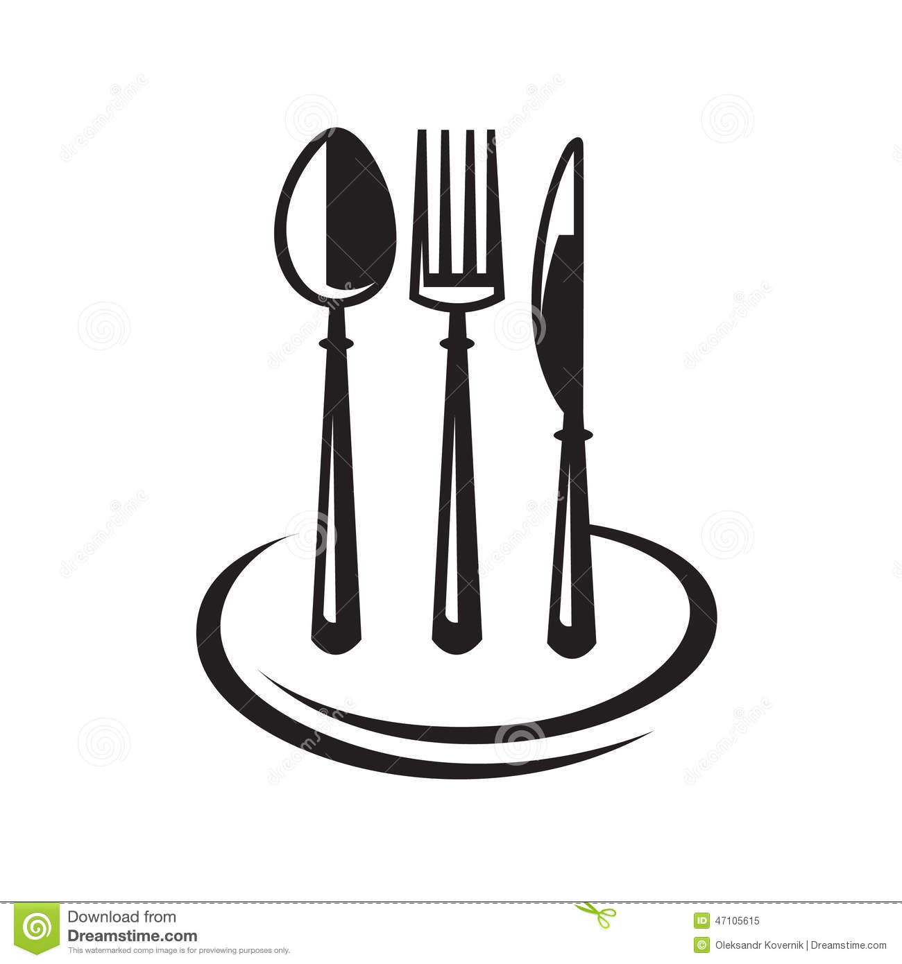 Knife Fork Spoon And Plate Stock Vector Image 47105615