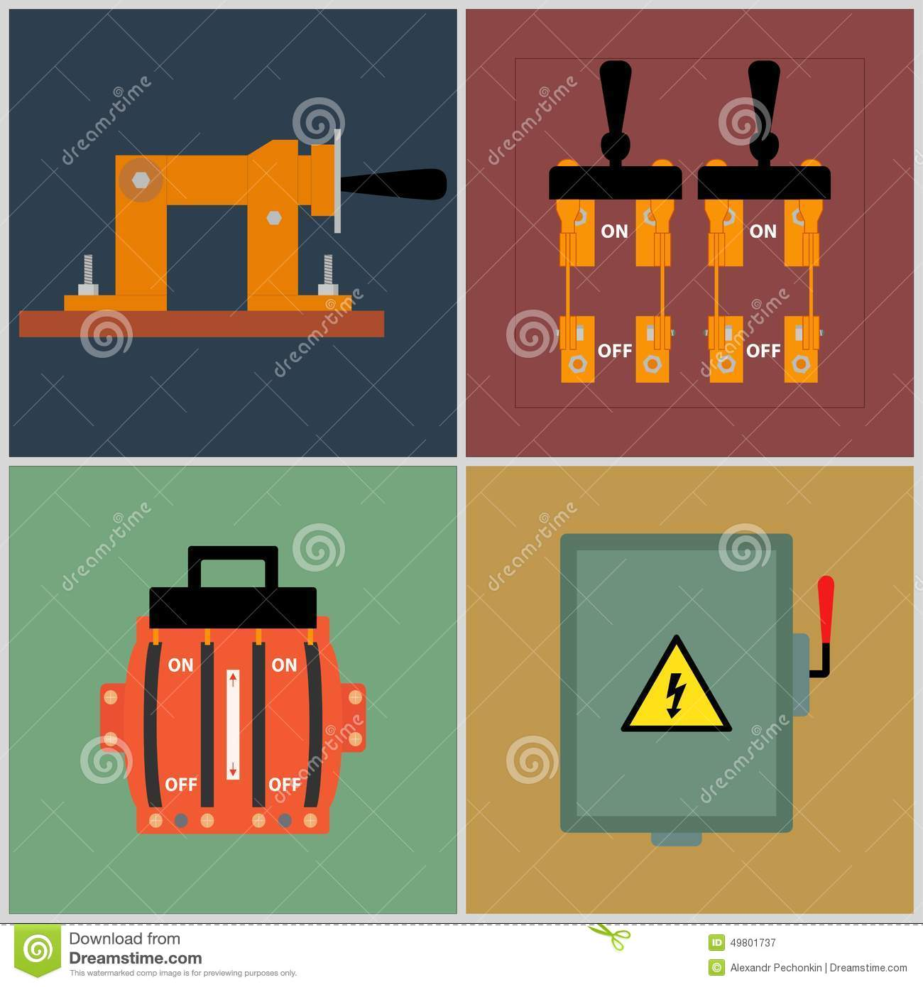 Knife Switch Stock Vector Illustration Of Electricity 49801737 Circuitbreakeroffjpg Flat Icons Electrical Circuit Breaker Contact