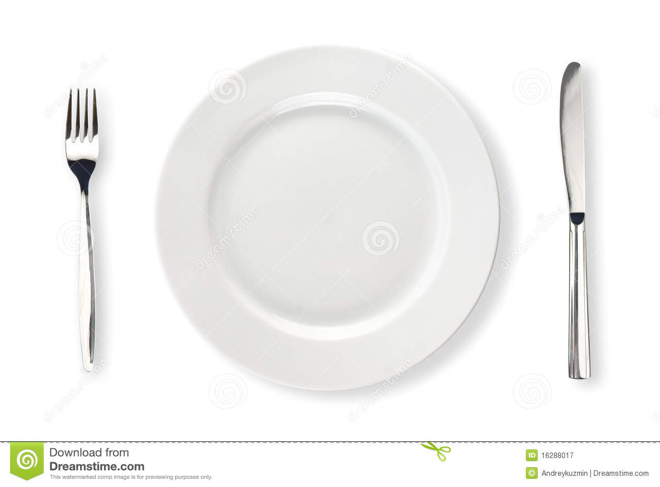 Knife, White Plate And Fork Isolated Top View Royalty Free