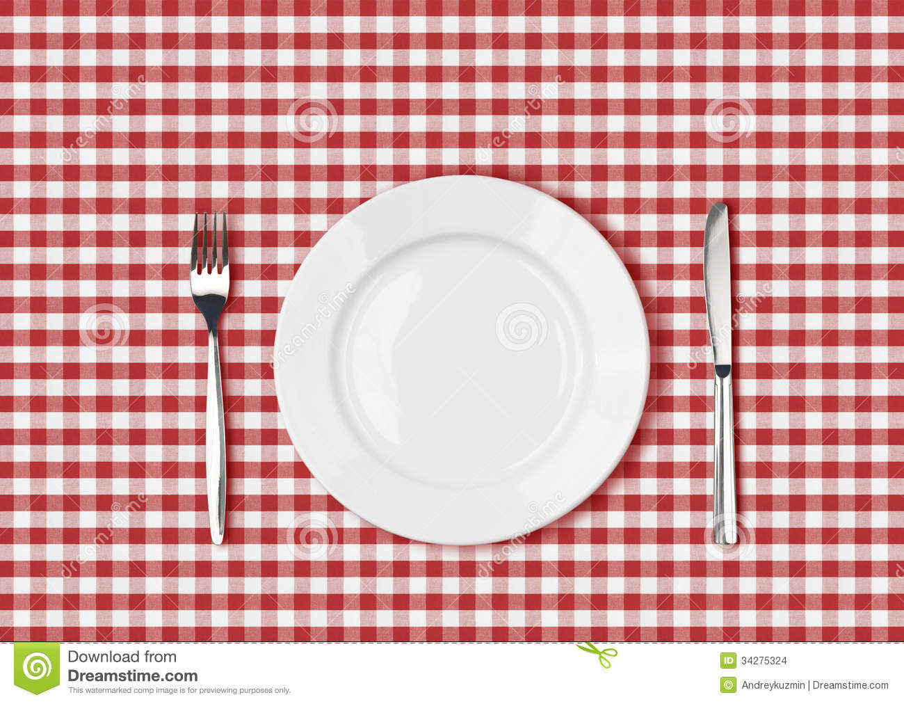 Knife, White Plate And Fork On Red Picnic Table Cloth Stock Images ...