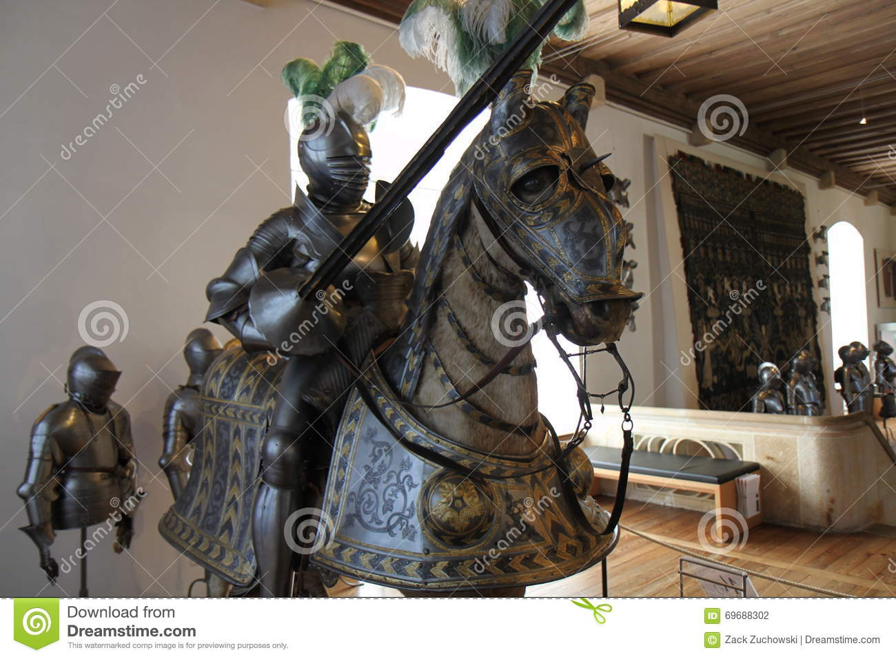 Knight armor a jousting lance and horse armor