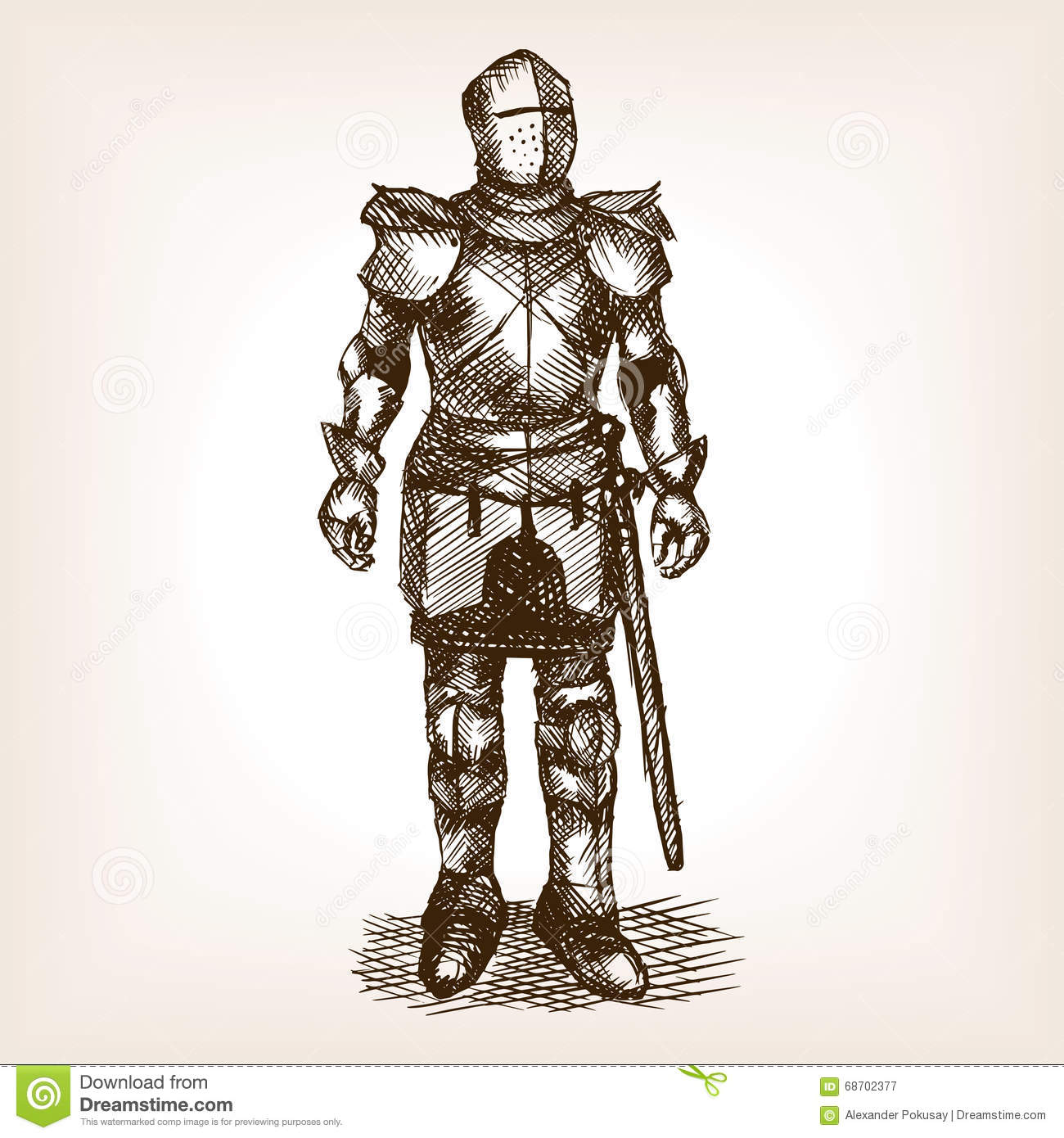 Knight Armour And Sword Sketch Vector Stock Illustration ...