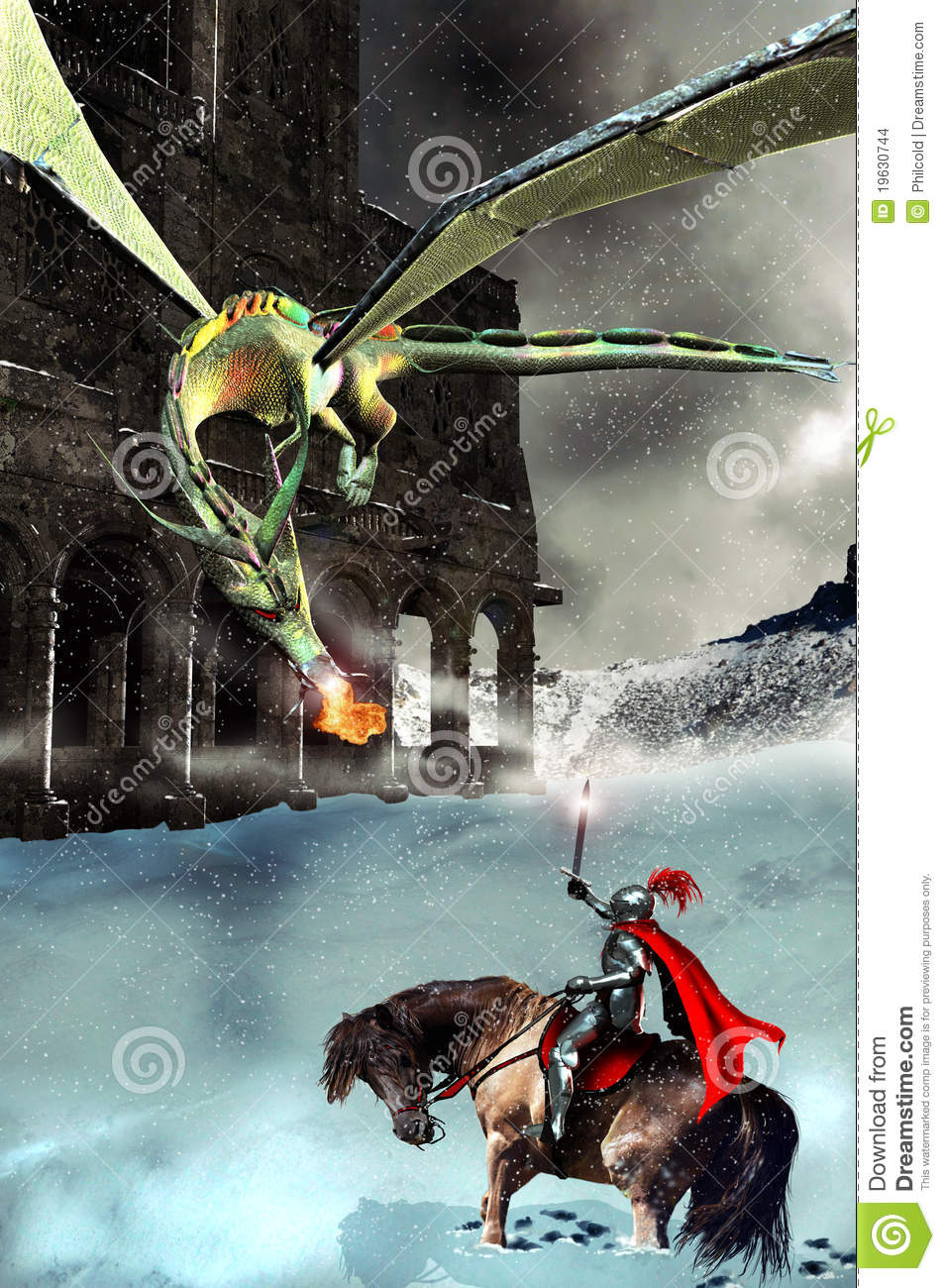the knight the dragon and the castle stock illustration
