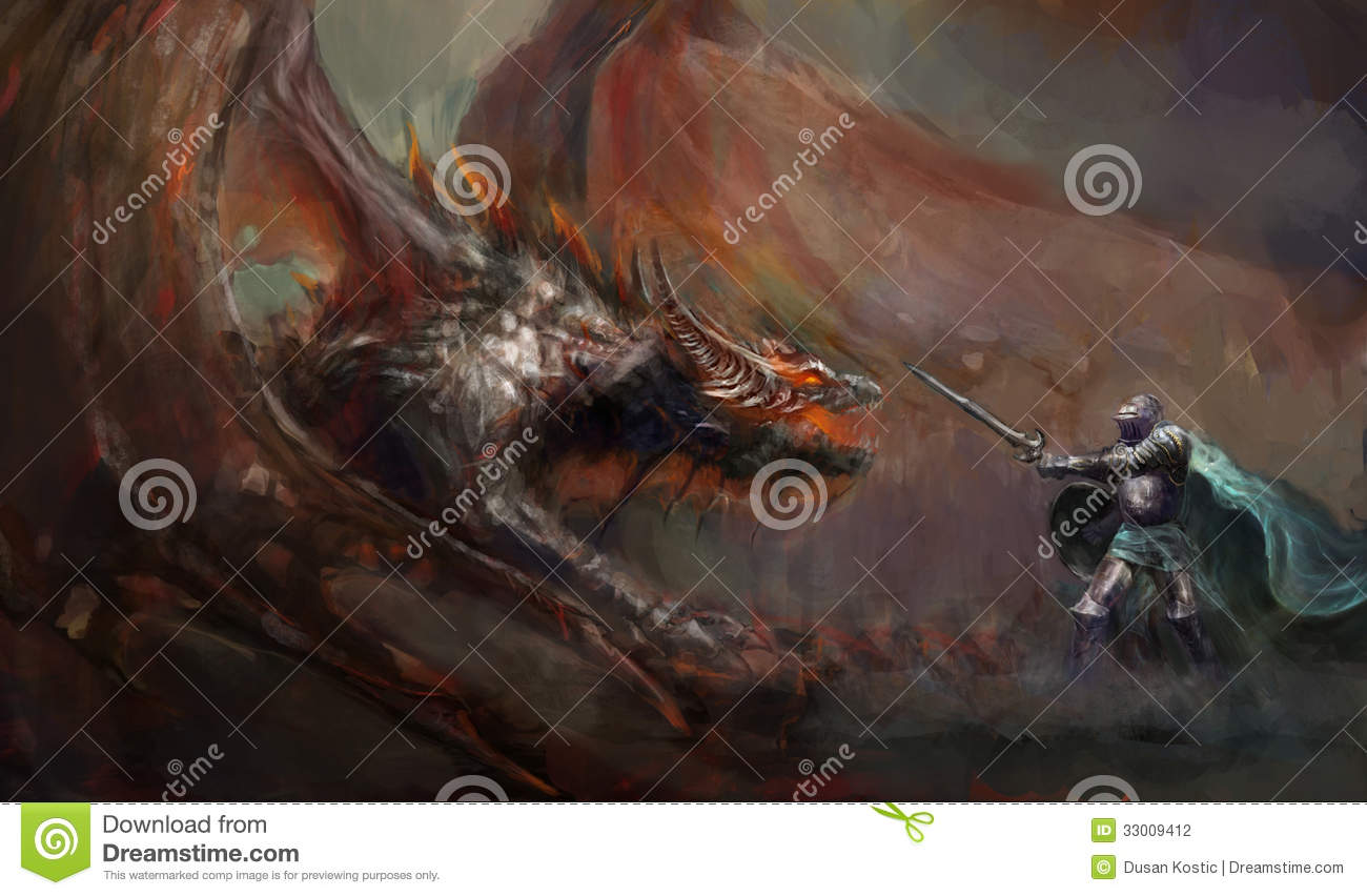 Knight fighting the dragon