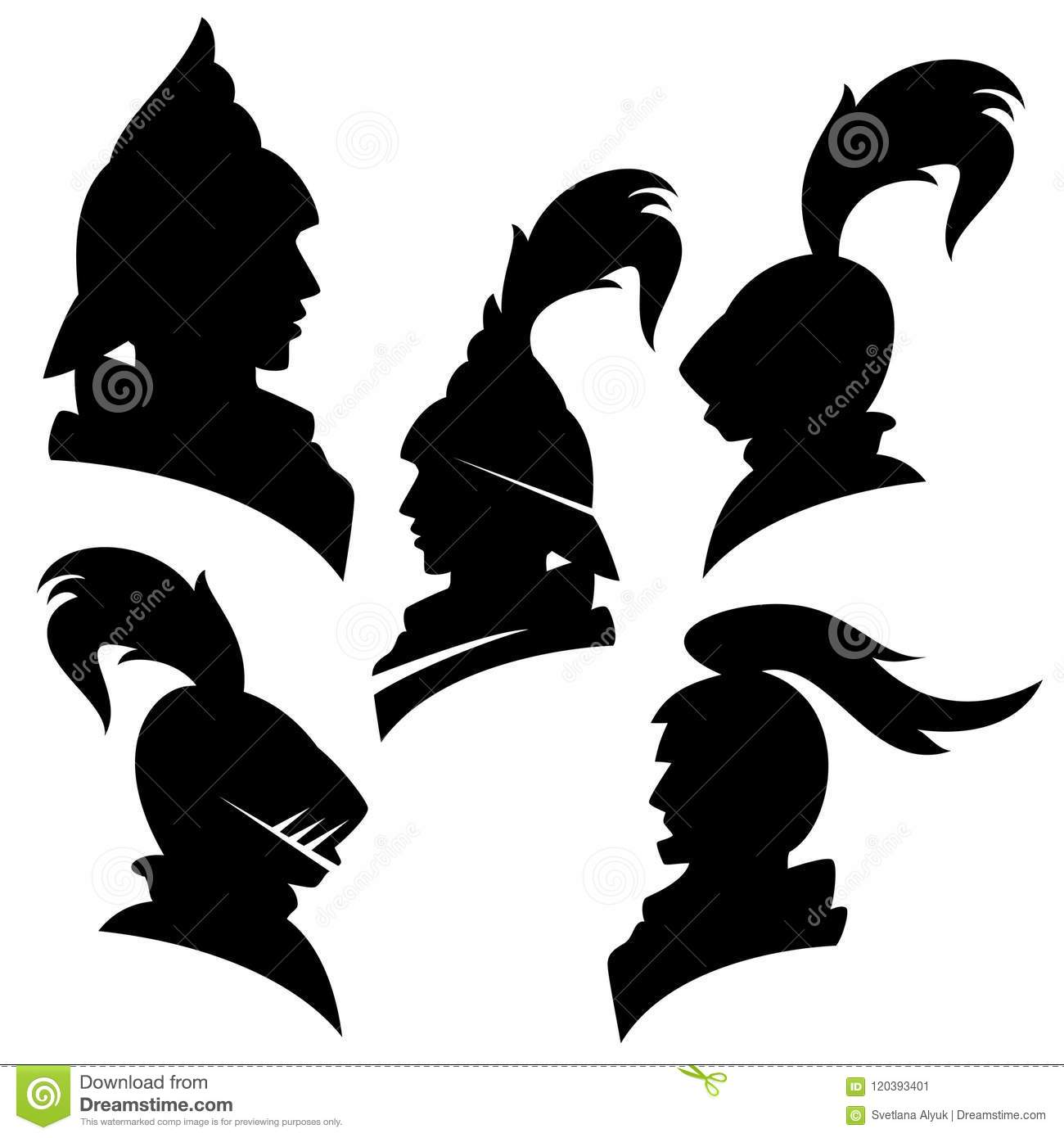 Knight Heads Vector Silhouette Set Stock Vector ...