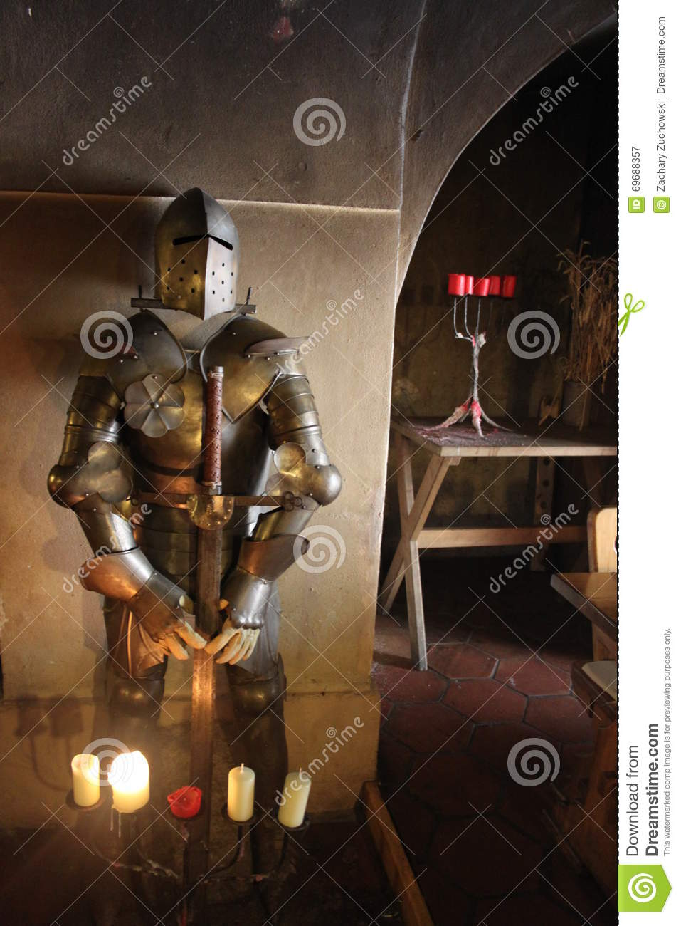 The Knight With His Sword By Candlelight Editorial Photography Image Of Breastplate Helmet 69688357
