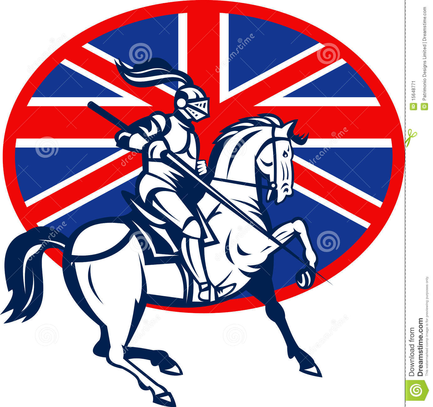 knight on horse with flag stock vector image 41887915