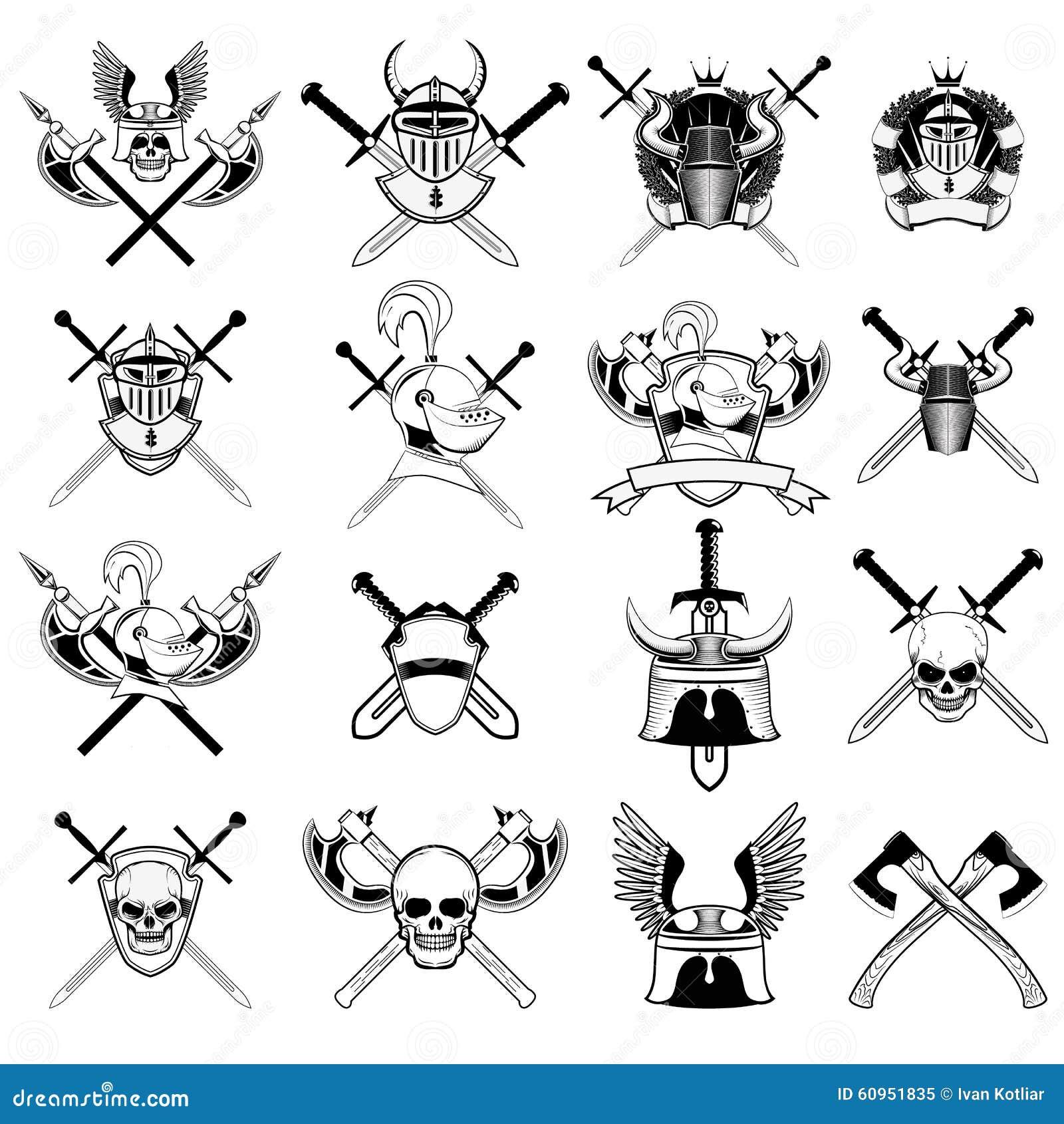 Knight Logo Set Stock Vector Illustration Of Axes Black 60951835