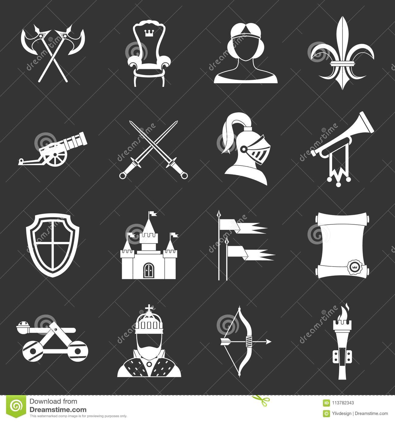 Knight Medieval Icons Set Grey Vector Stock Vector - Illustration of ...