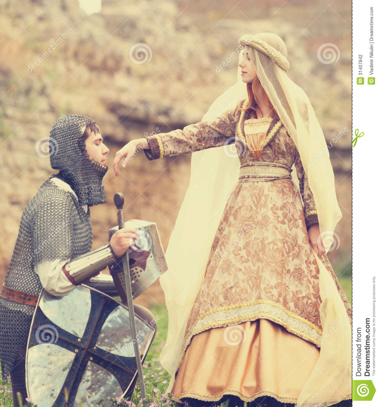 Knight And Medieval Lady Stock Photography - Image: 31407842