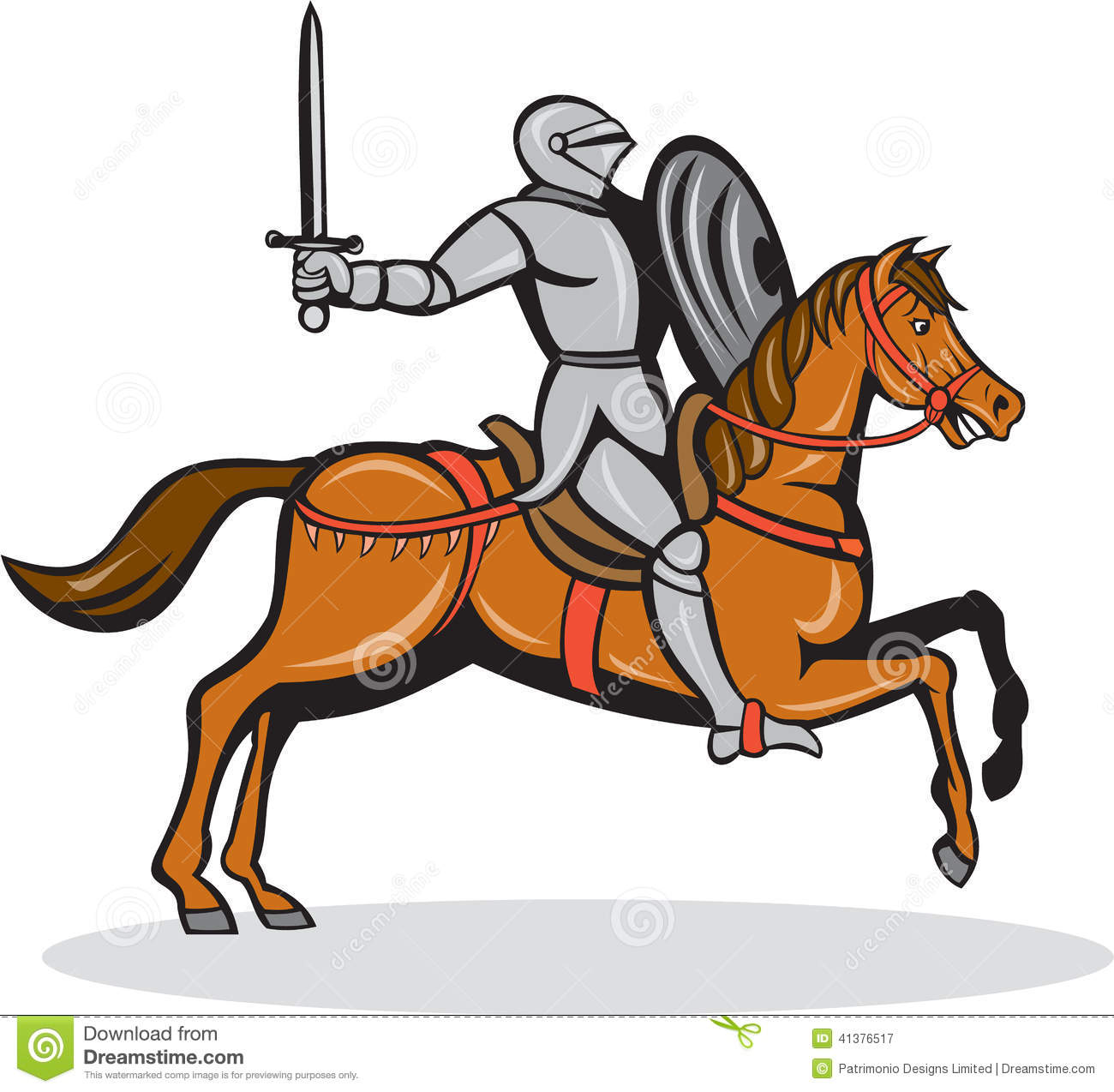 Knight Riding Horse Cartoon Stock Vector - Image: 41376517