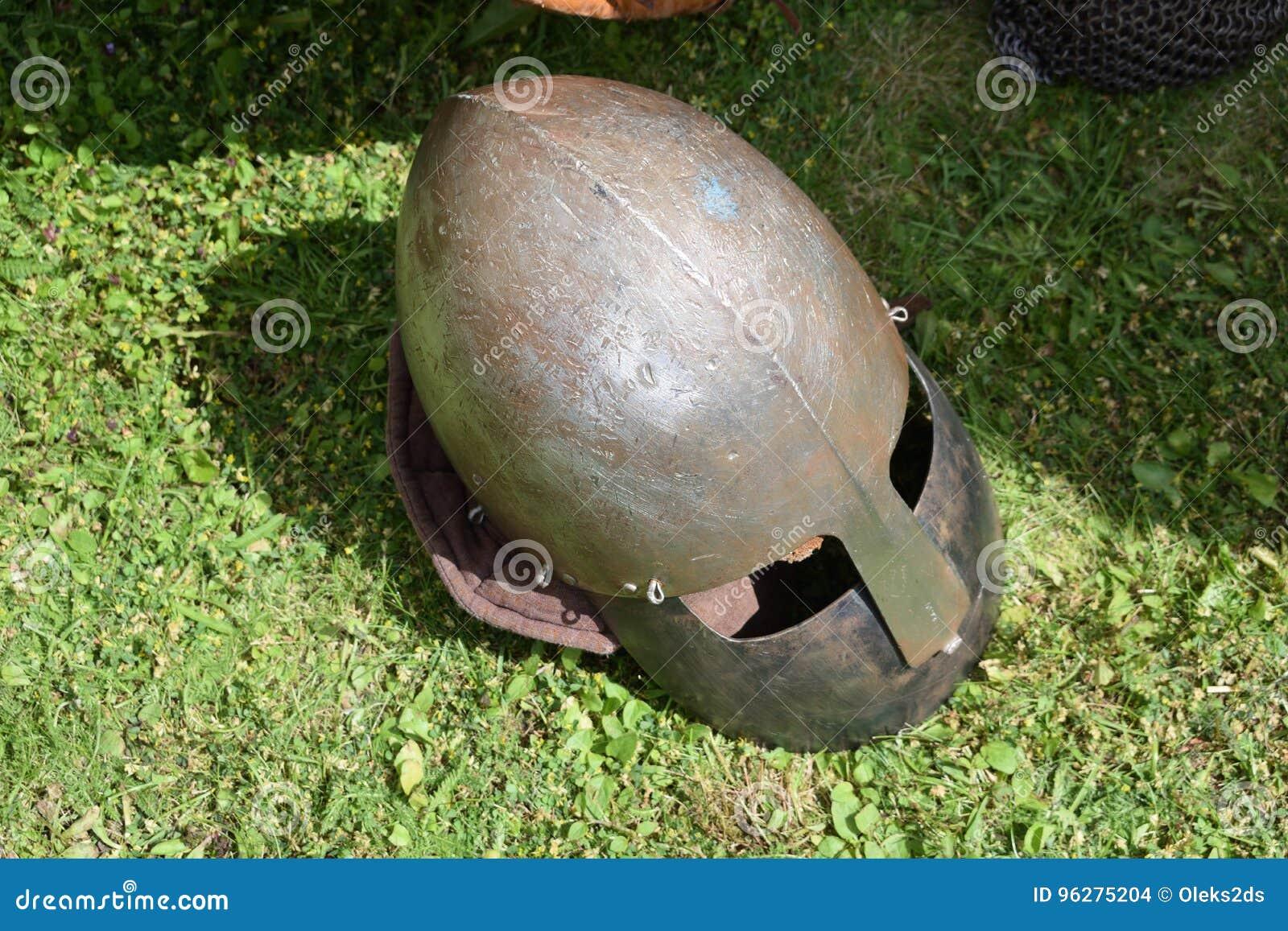 medieval knight s helmet with face guard visor closeup stock photo